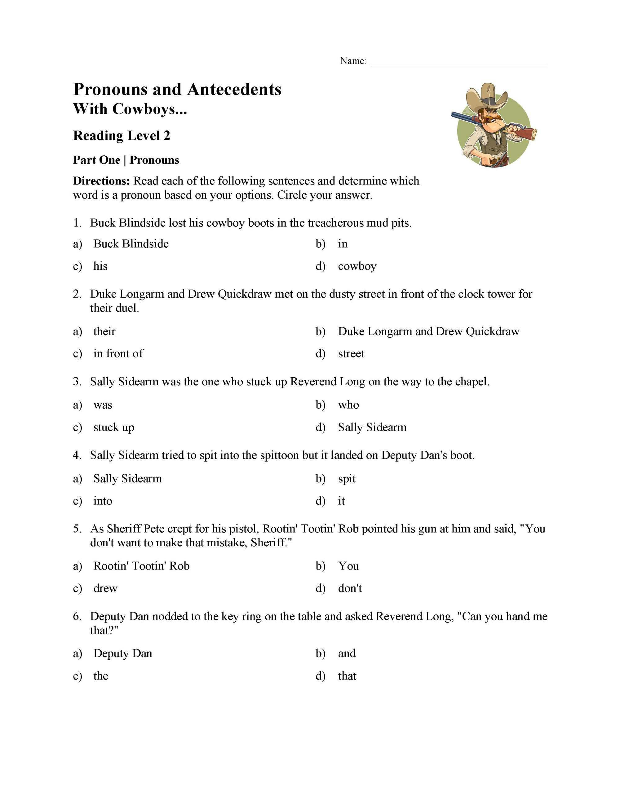 hight resolution of Pronoun and Antecedent Test - With Cowboys   Reading Level 2   Preview