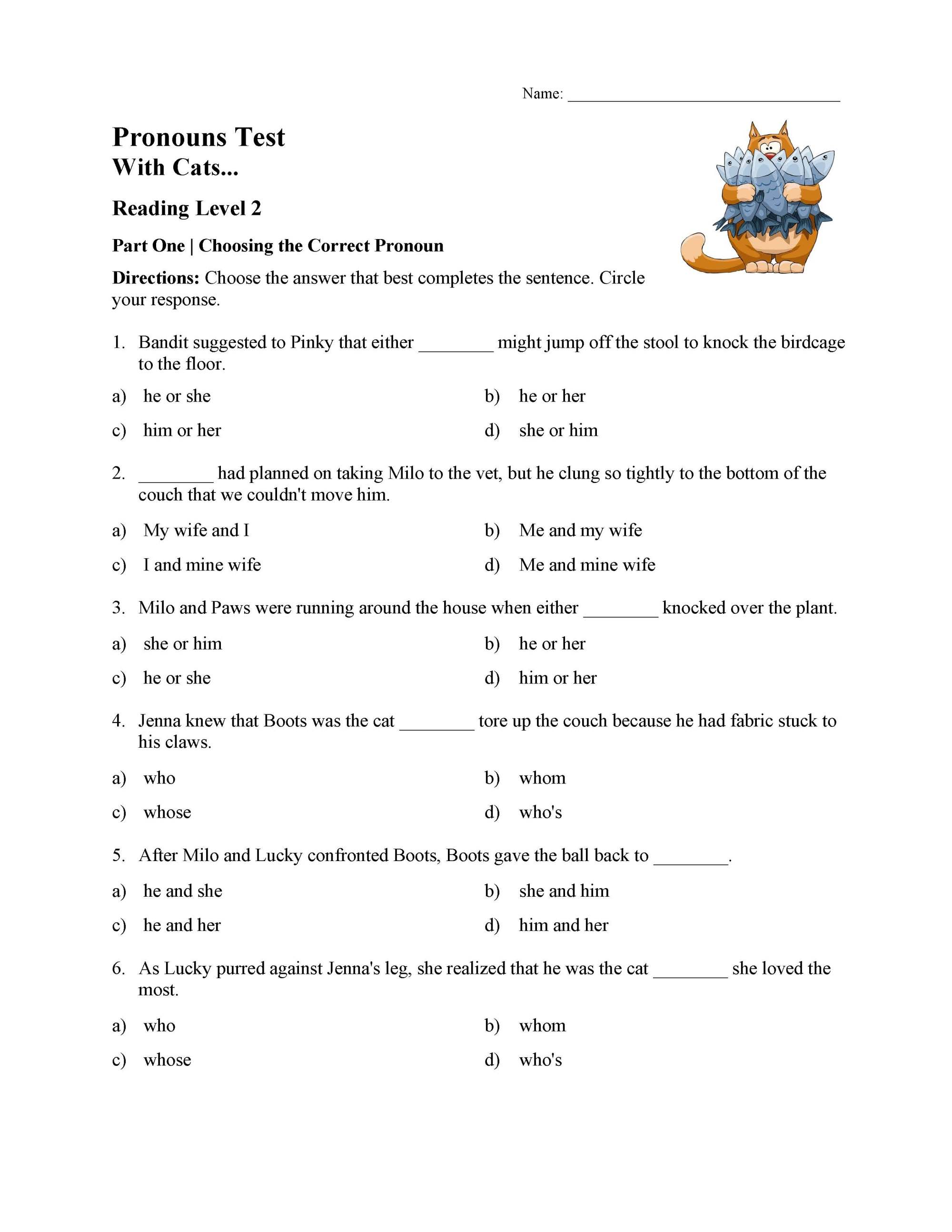 hight resolution of Pronouns Test with Cats - Reading Level 2   Preview