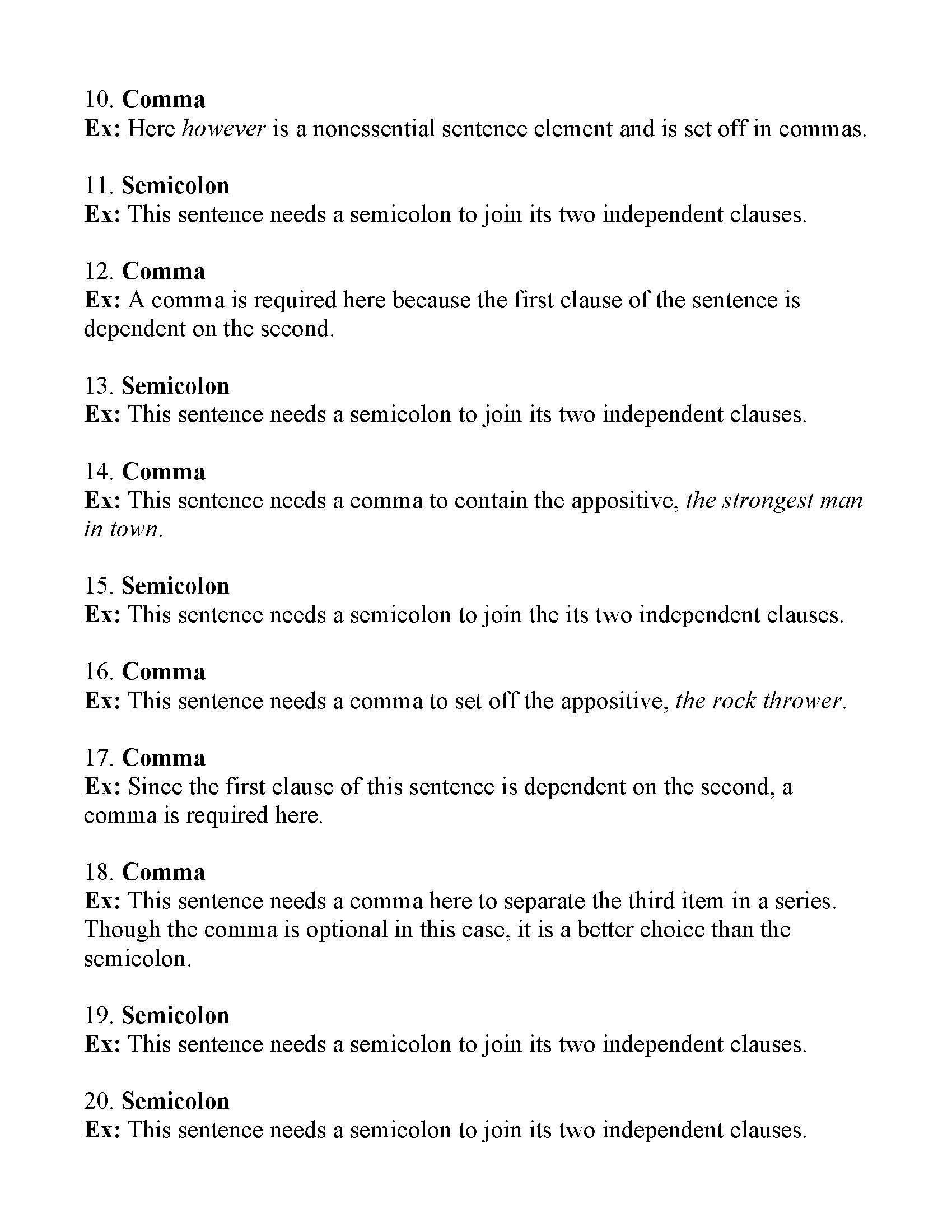 Mockinbirdhillcottage Sentence Elements Exercises With