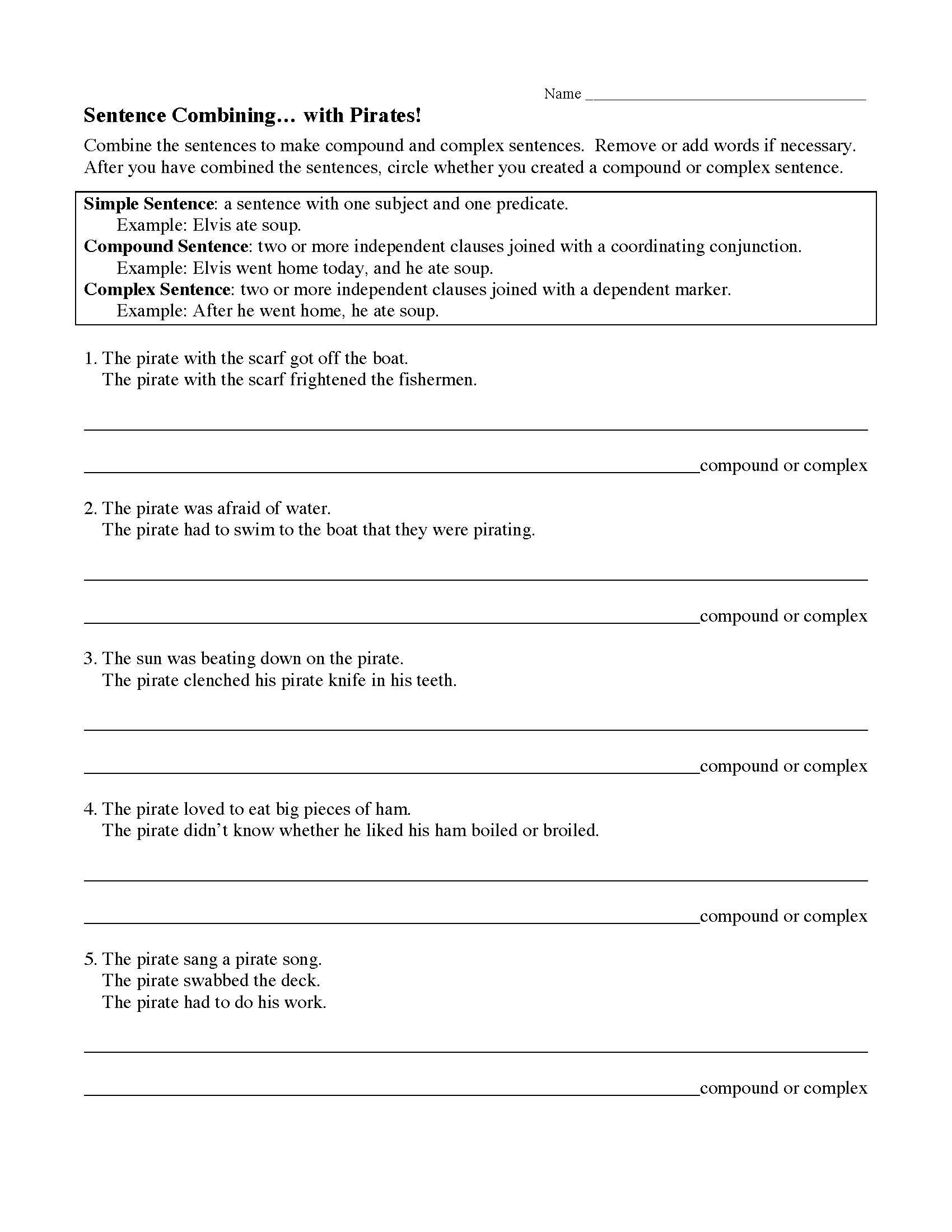 Sentences Combining With Pirates Worksheet