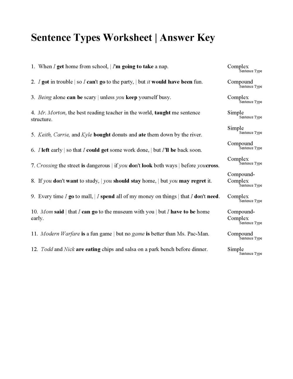 medium resolution of sentences types worksheet