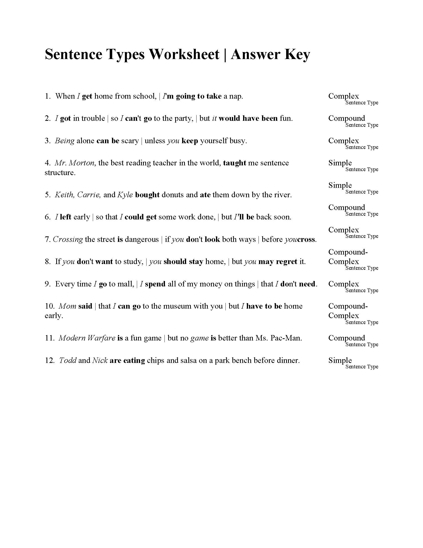 hight resolution of sentences types worksheet