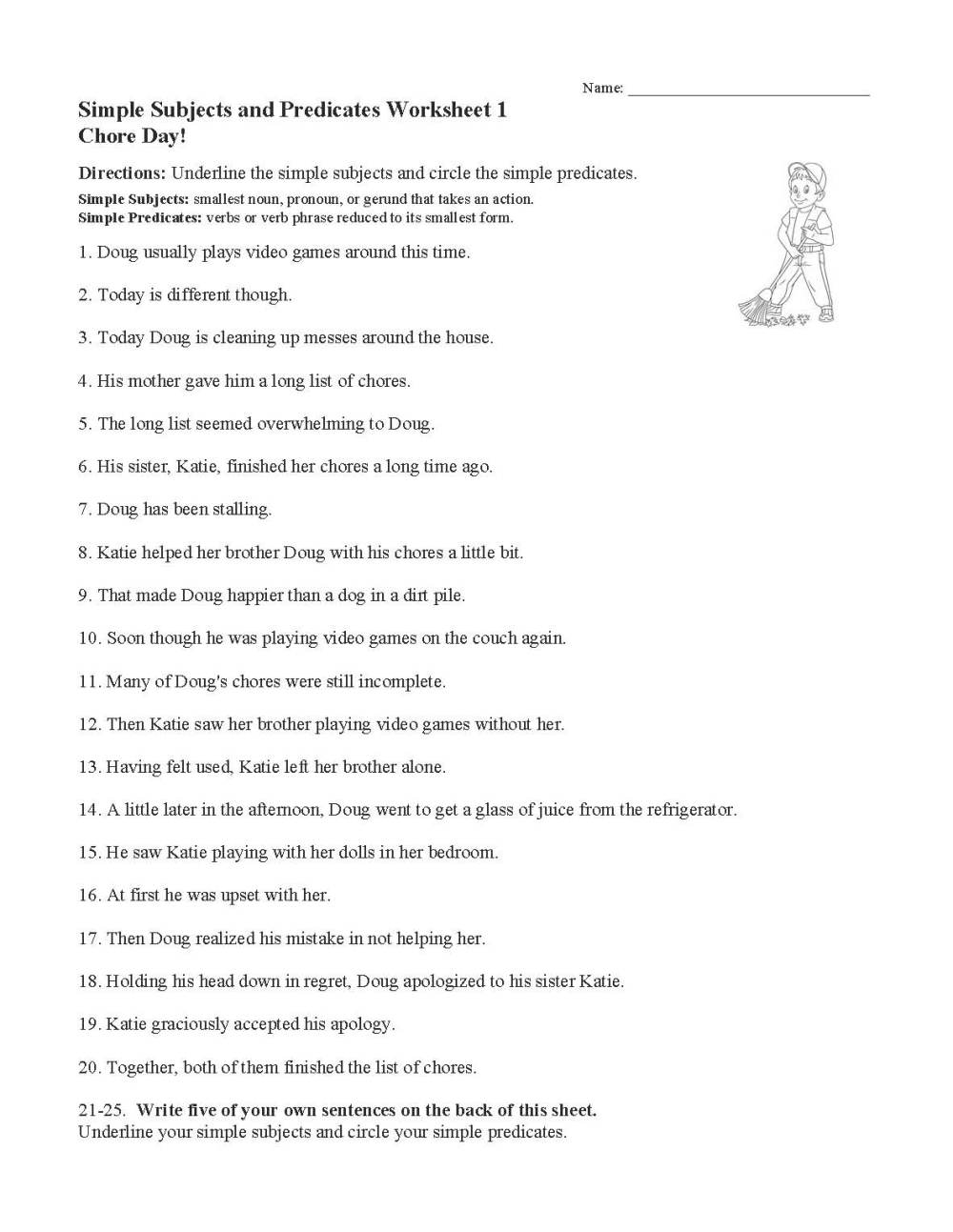 medium resolution of Simple Subject And Simple Predicate Exercises - ExerciseWalls