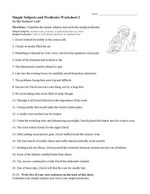 small resolution of Subjects And Predicates Worksheet   Printable Worksheets and Activities for  Teachers