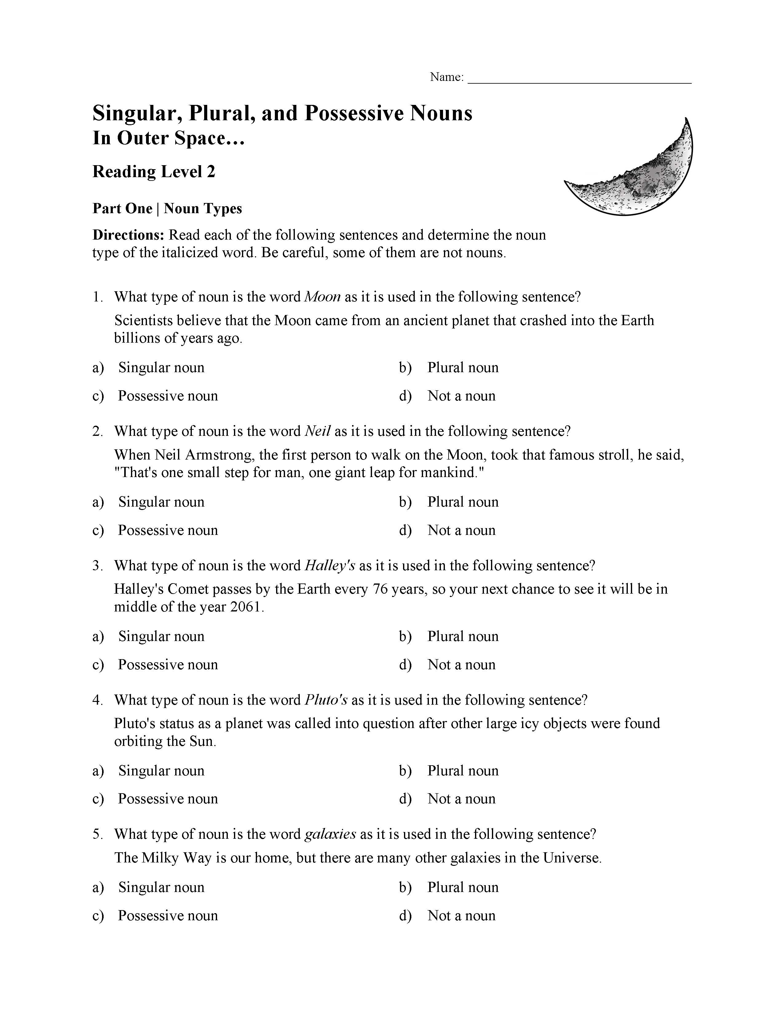 Singular Plural And Possessive Nouns Test 2