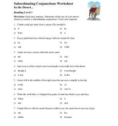 Subordinating Conjunctions Worksheet - Reading Level 1   Preview [ 3597 x 2780 Pixel ]