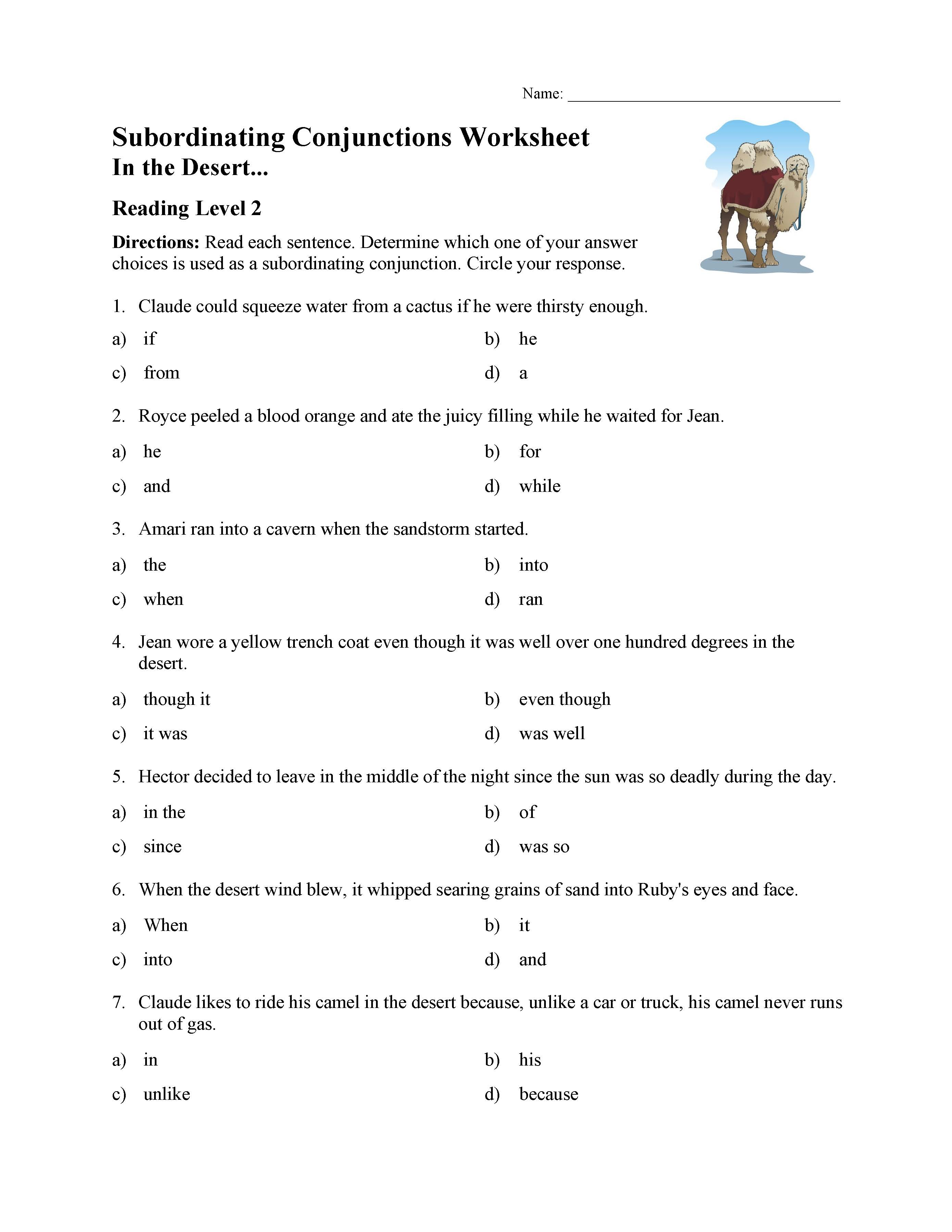 Conjunction Worksheet For Grade 2