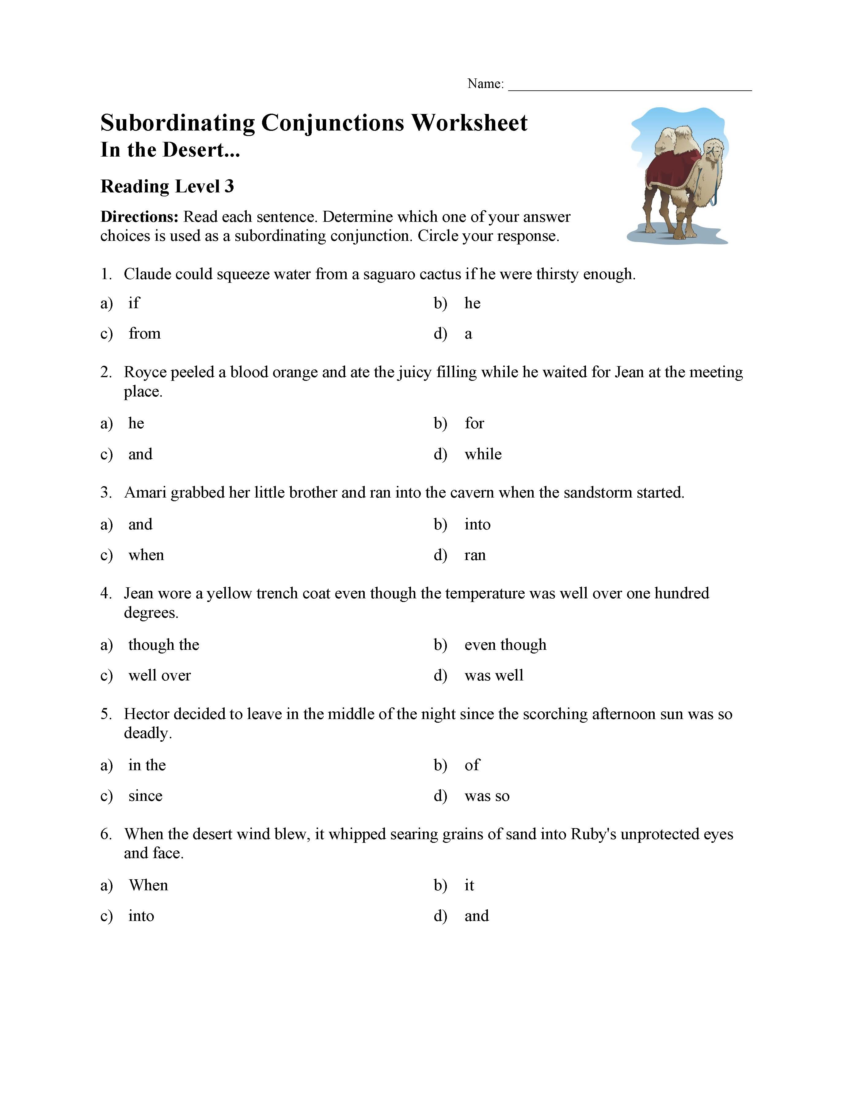 Subordinating Conjunctions Worksheet