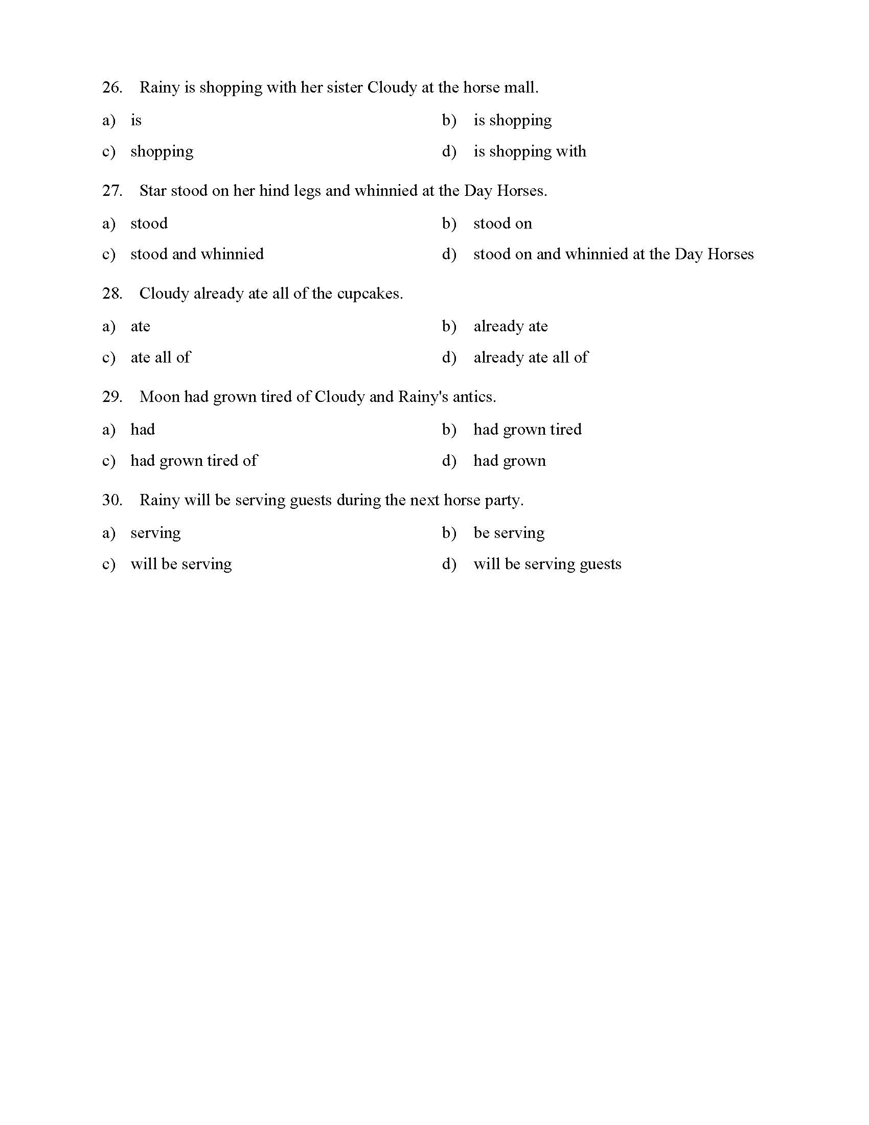 hight resolution of Verb Phrases Test - With Horses   Reading Level 1   Preview