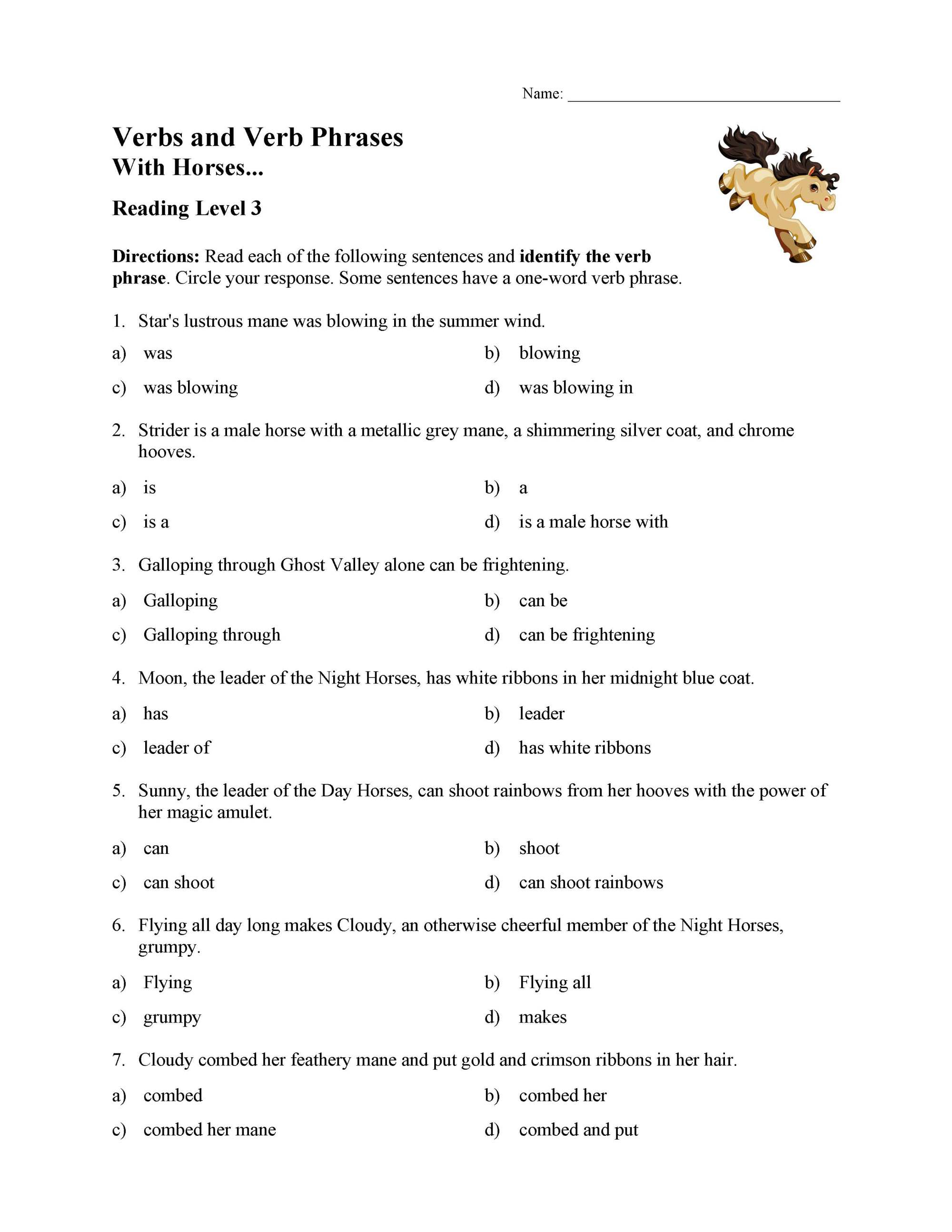 hight resolution of Verb Phrases Test - With Horses   Reading Level 3   Preview