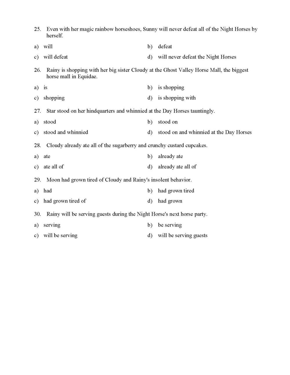 medium resolution of Verb Phrases Test - With Horses   Reading Level 3   Preview
