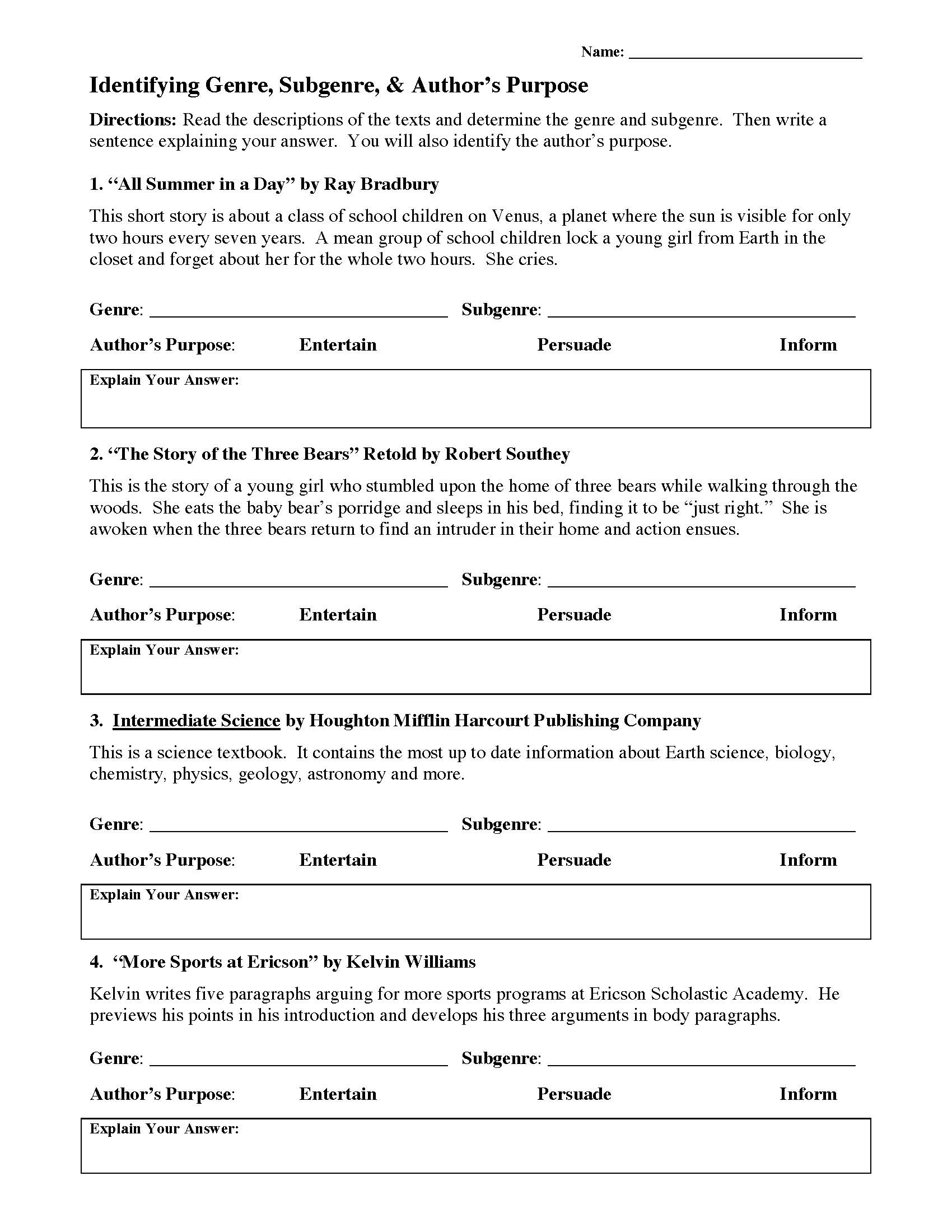 Genre And Author S Purpose Worksheet 1