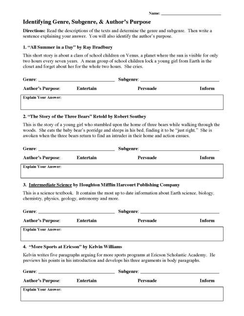 small resolution of Genre Worksheet 1 Answers - Promotiontablecovers