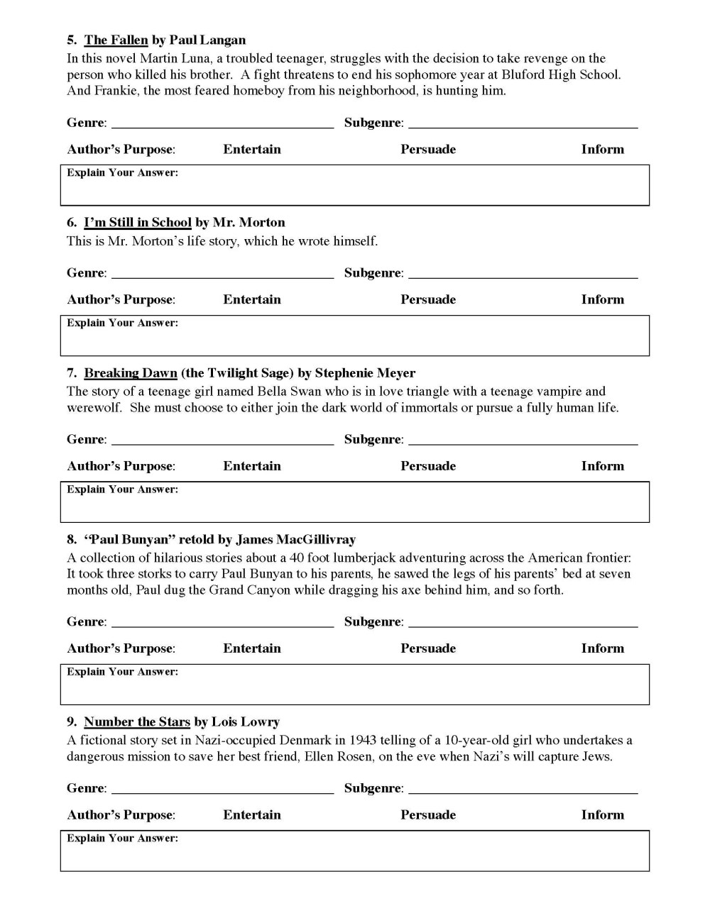 medium resolution of Genre and Author's Purpose Worksheet 1   Preview