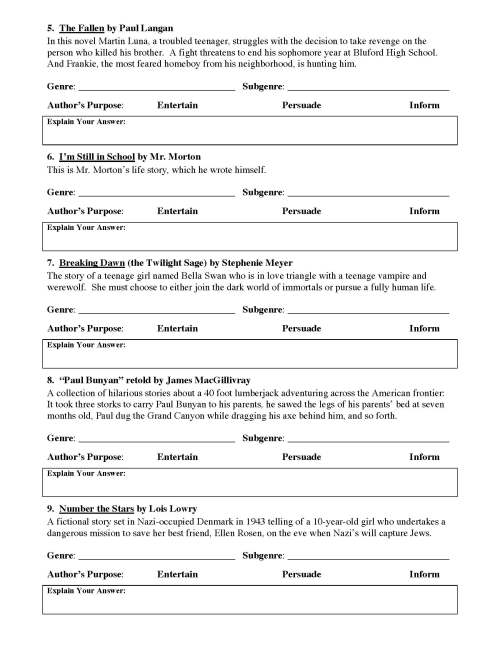 small resolution of Genre and Author's Purpose Worksheet 1   Preview