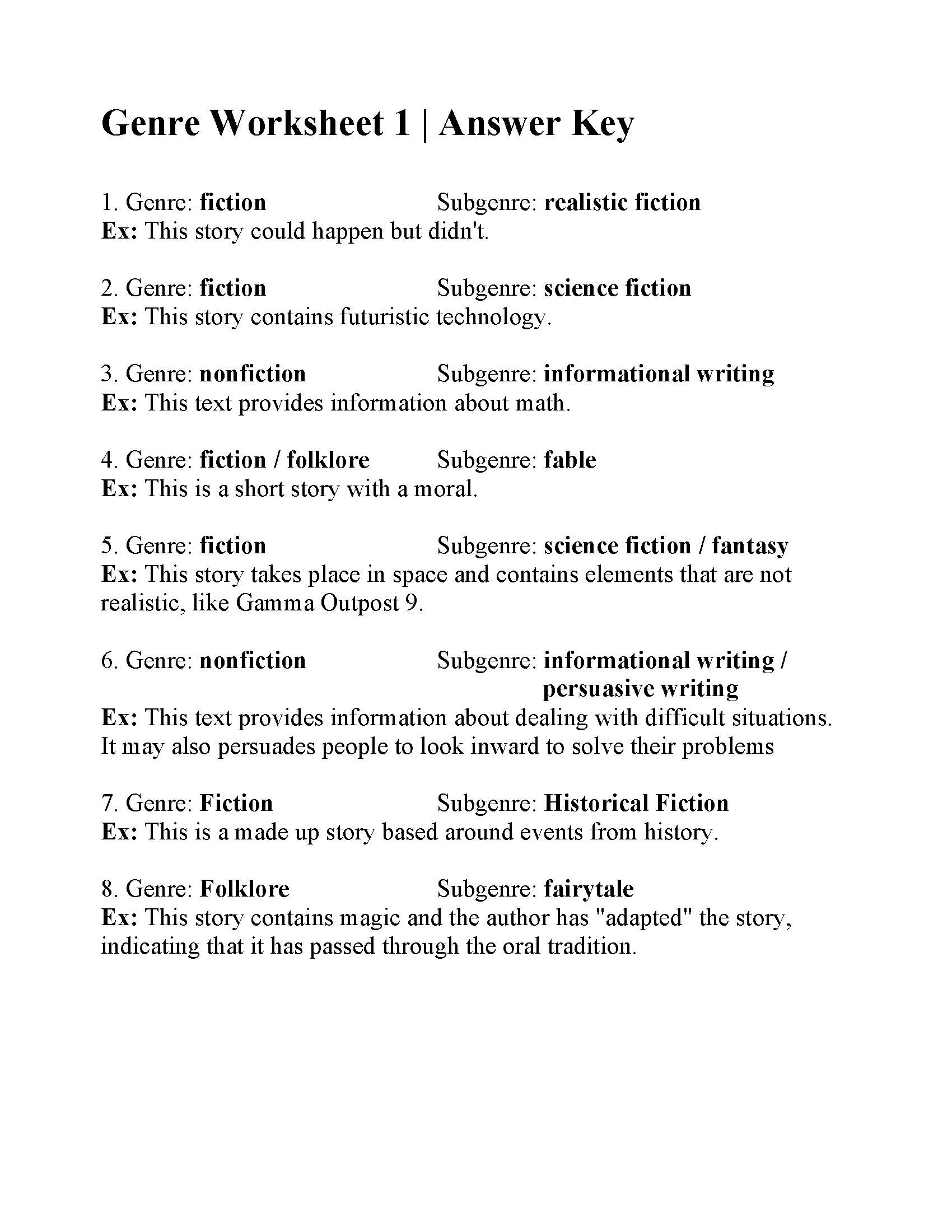 Genre Worksheet 1
