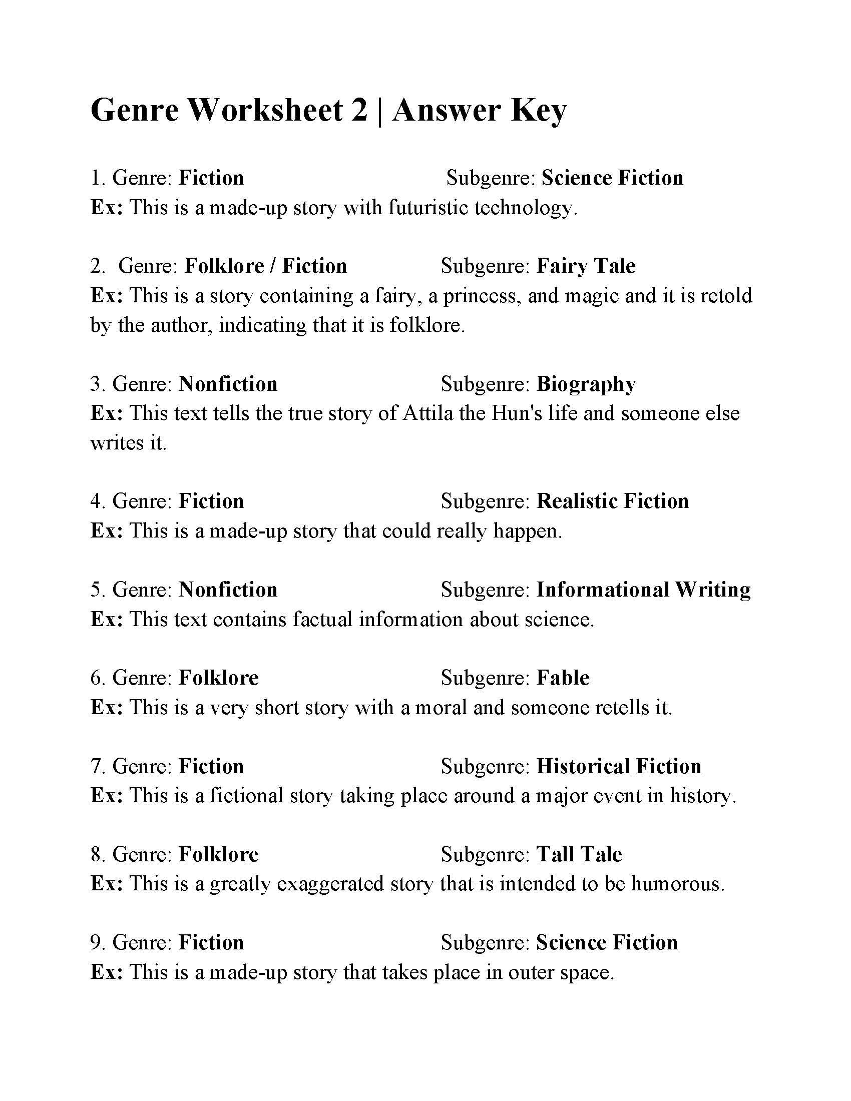 Genre Worksheet 2