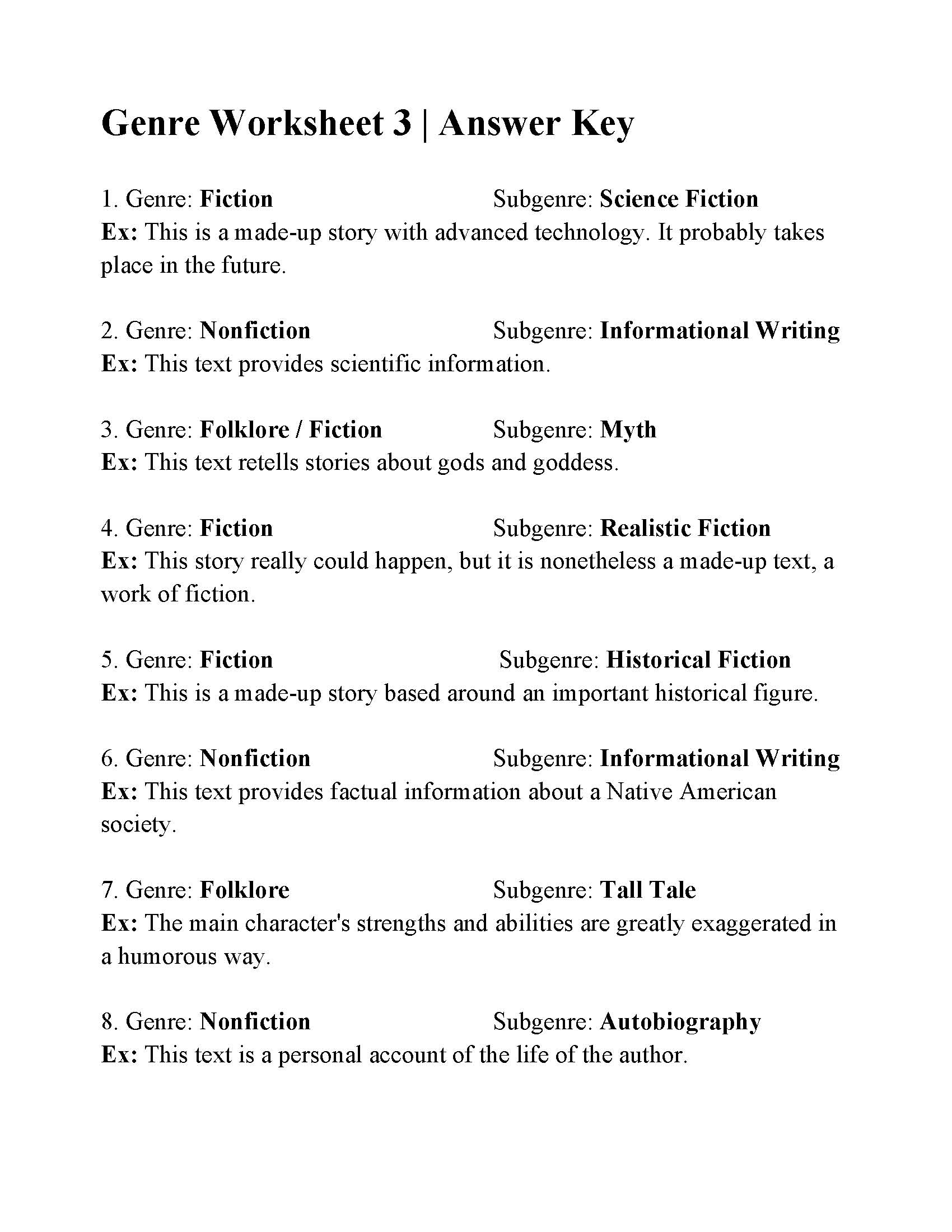 hight resolution of Genre And Subgenre Worksheet 6 - Promotiontablecovers
