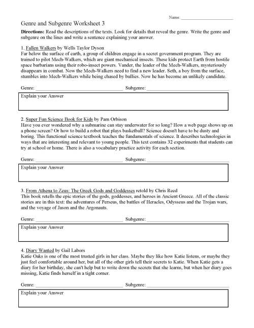small resolution of Variety Of Genres Worksheets   Printable Worksheets and Activities for  Teachers