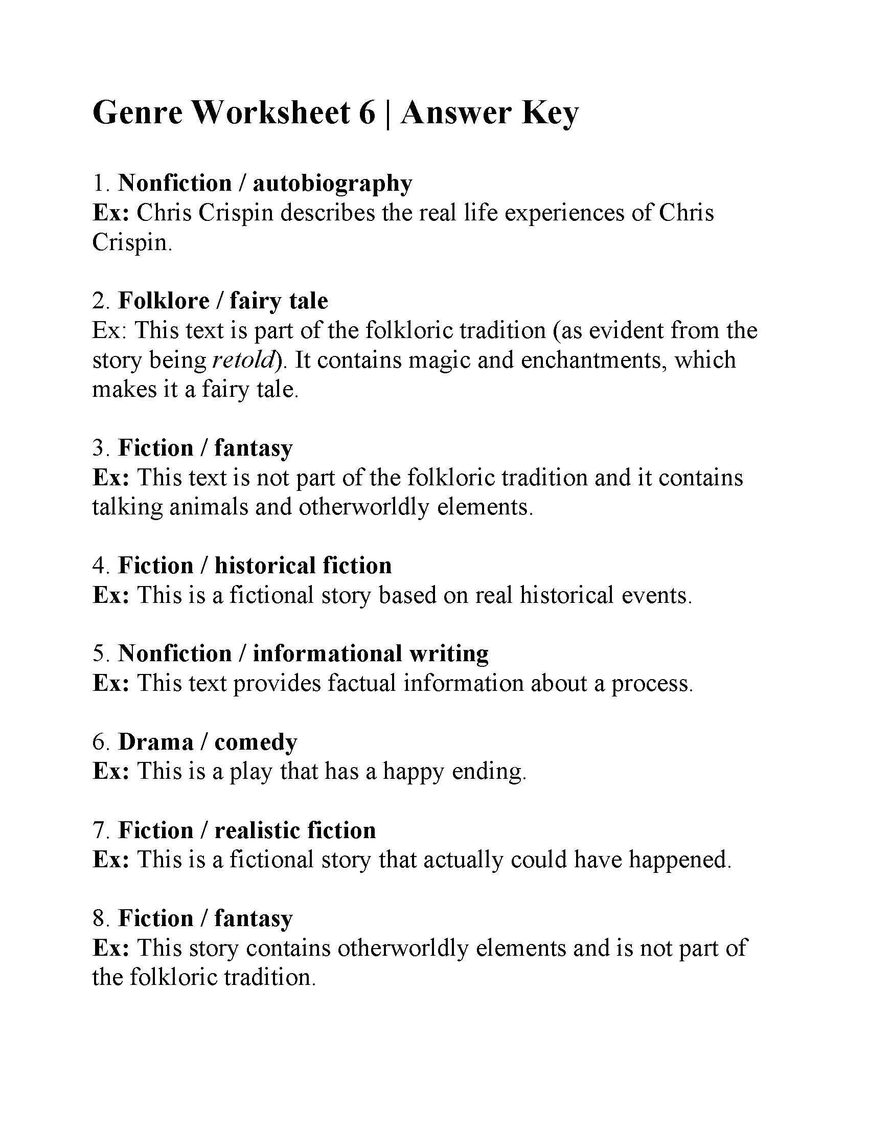 32 Genre Worksheet 1 Answers