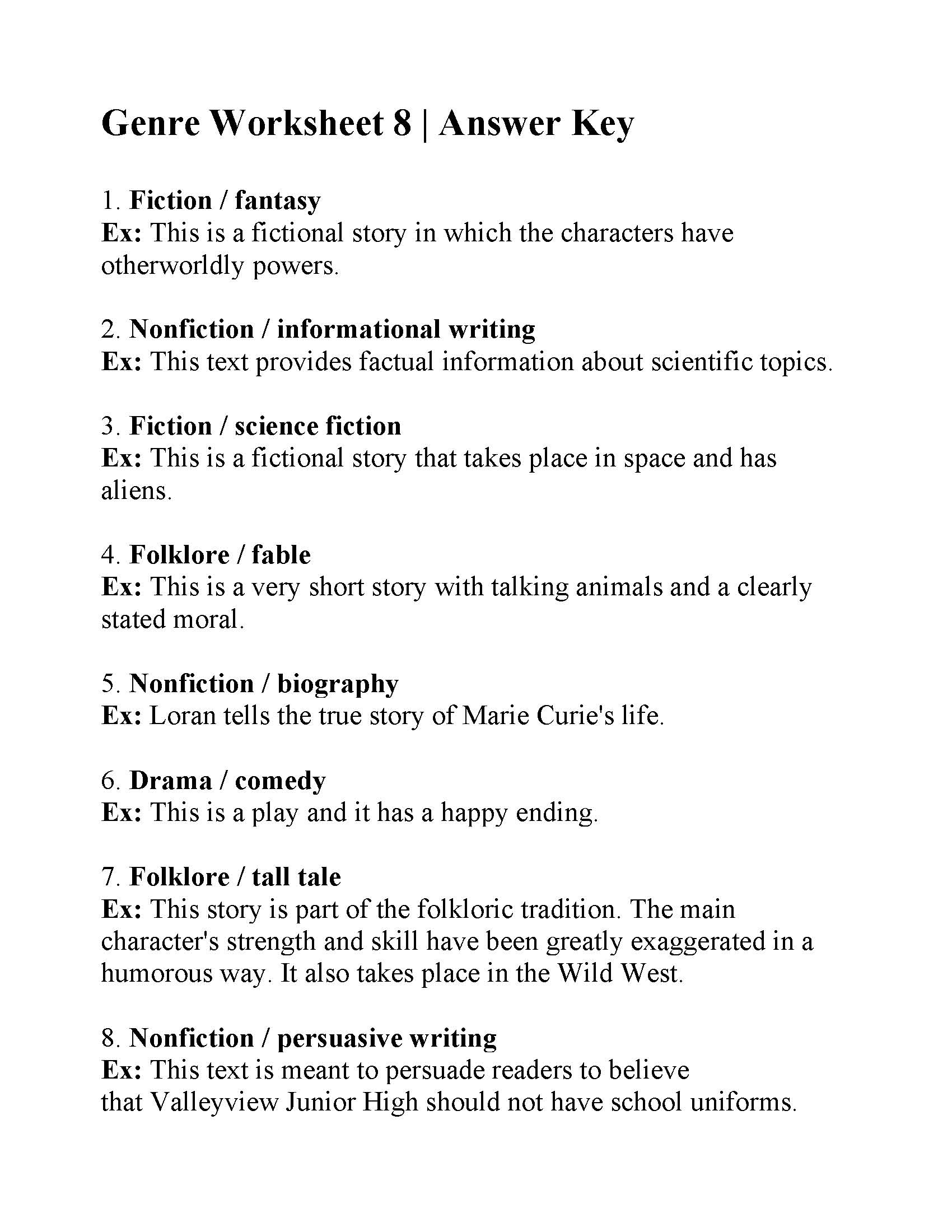 Genre Worksheet 8