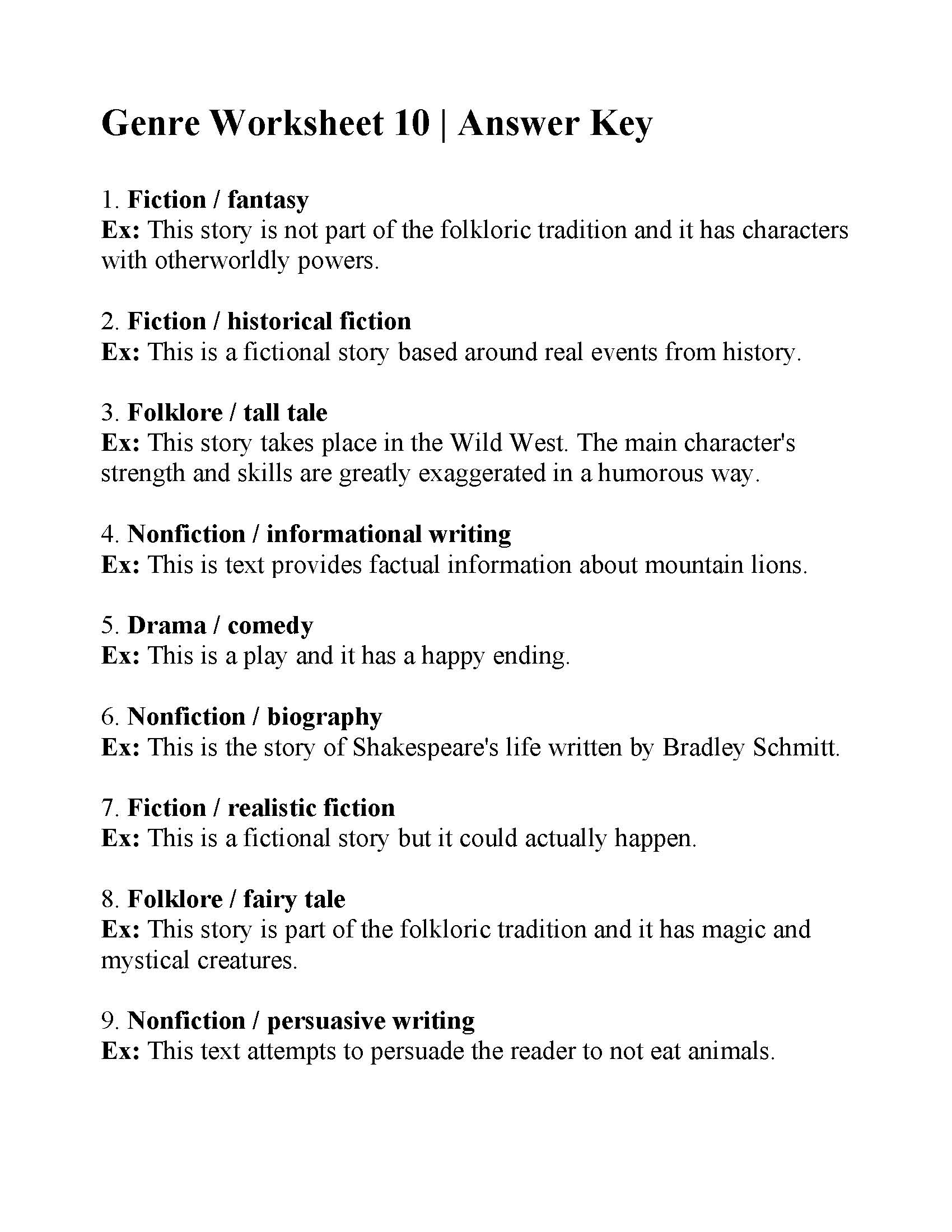 Genre Worksheet 10
