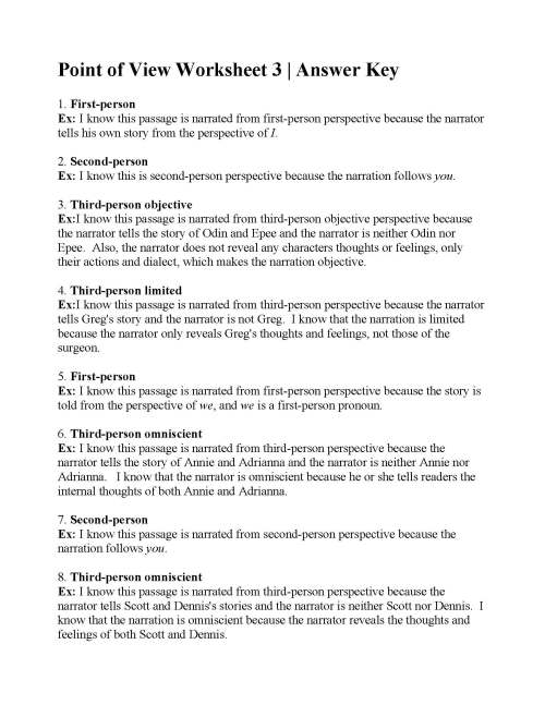 small resolution of Point of View Worksheet 3   Answers