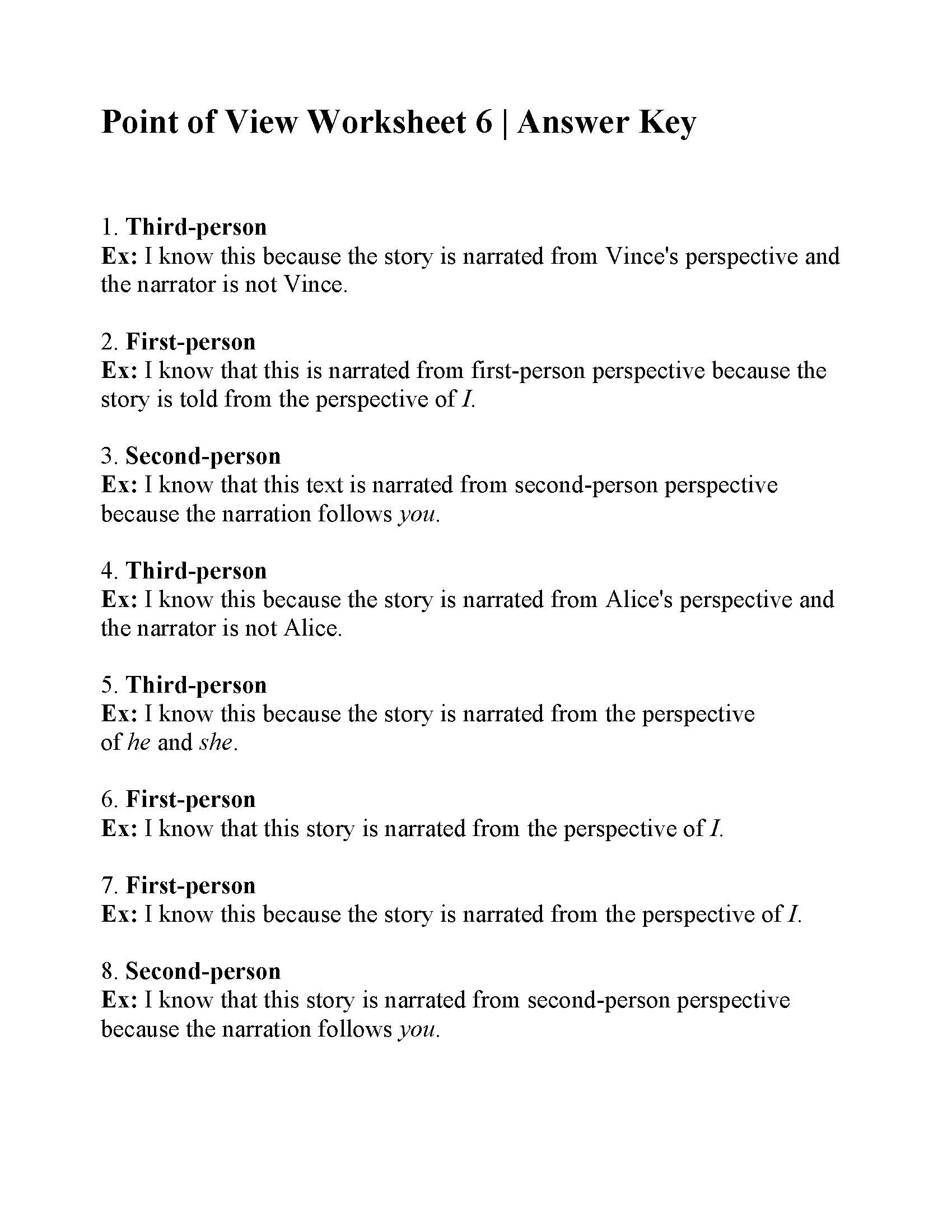 hight resolution of Point of View Worksheet 6   Answers