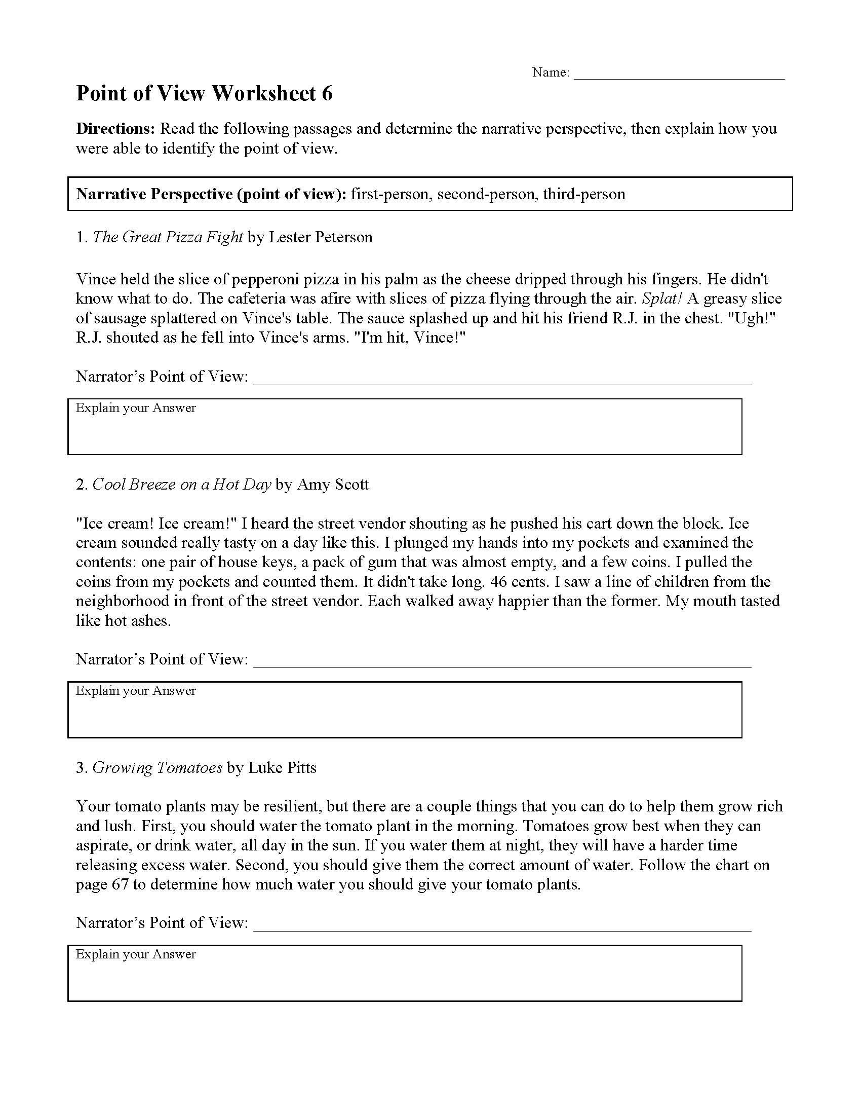 Point Of View Worksheet 6