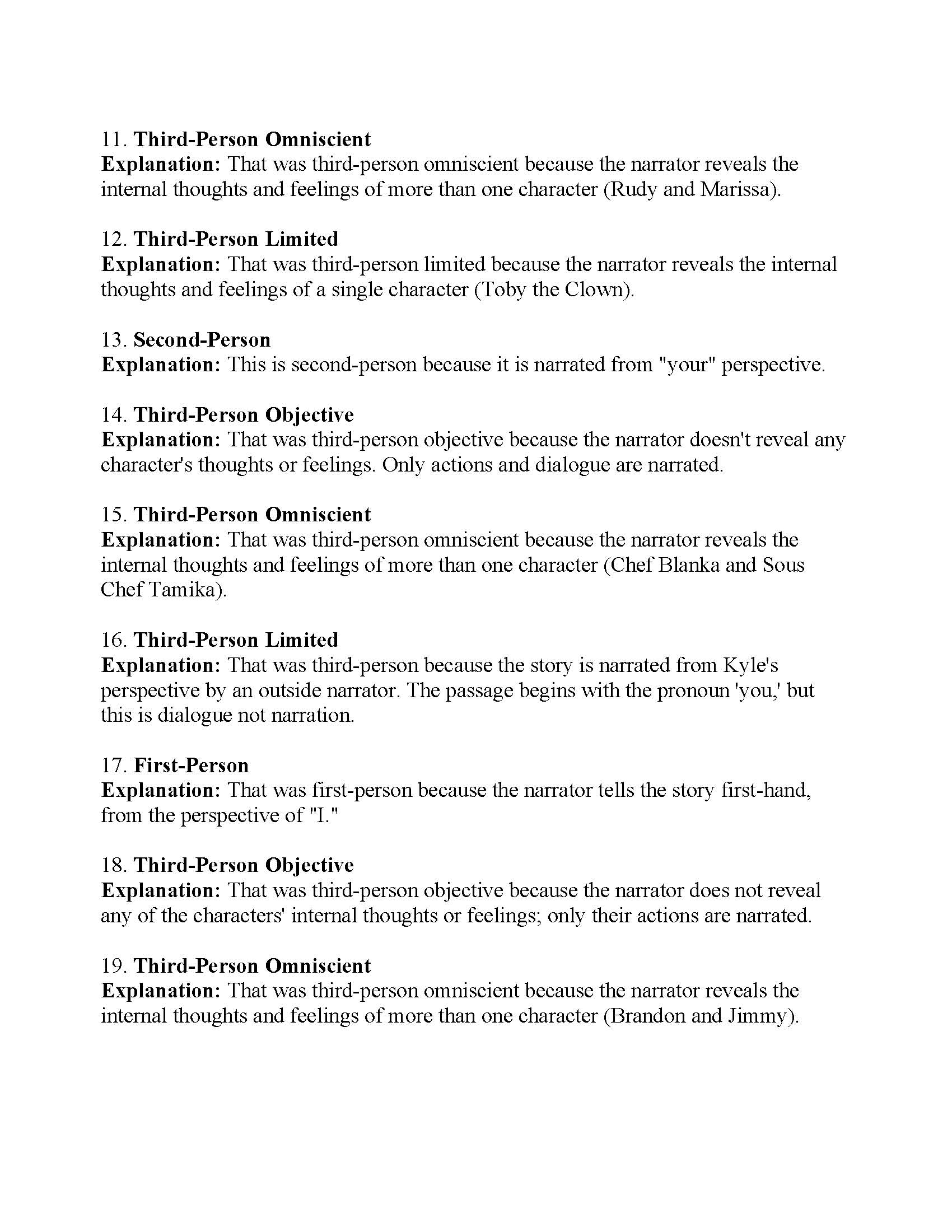 Point Of View Worksheet 11 Answer Key