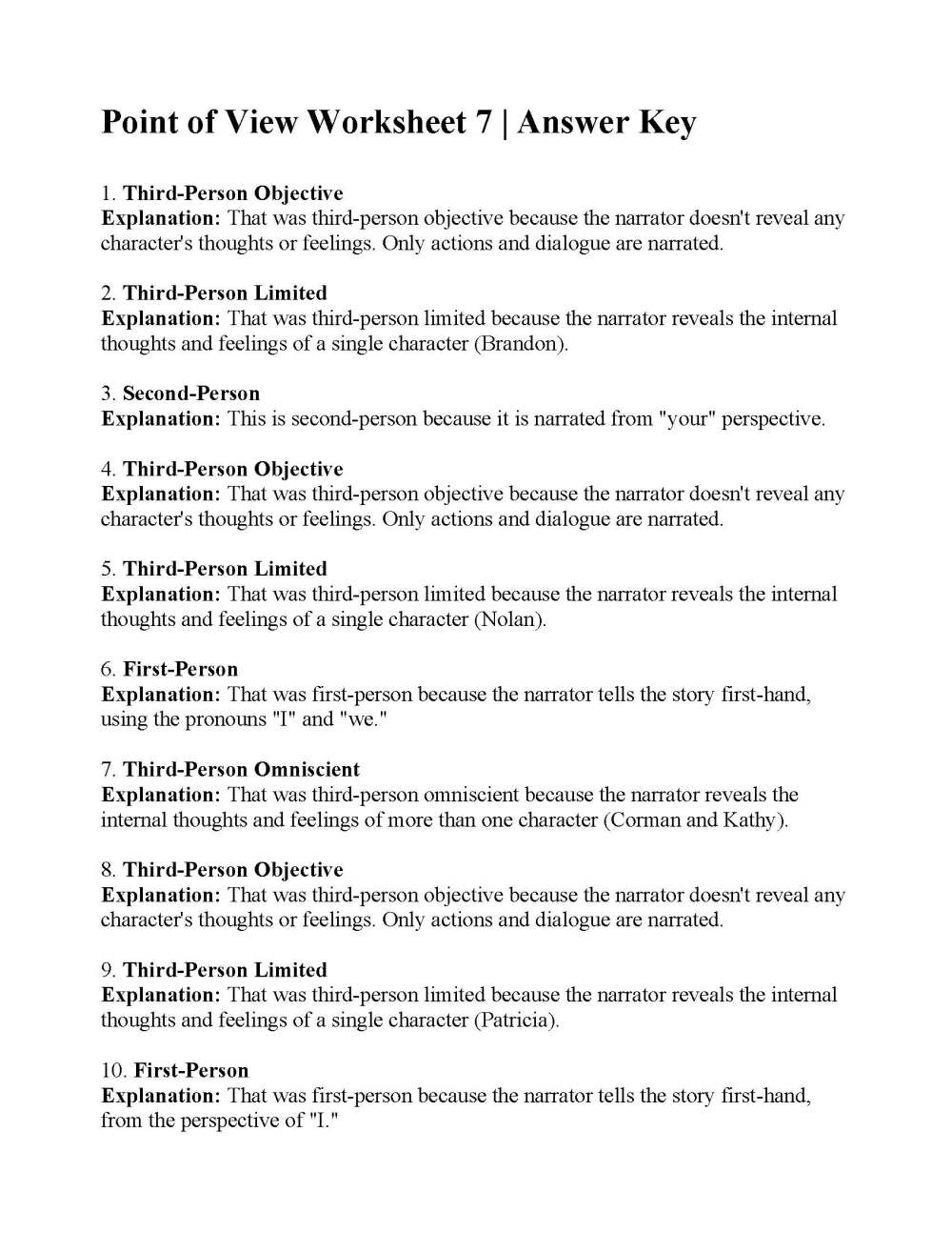 medium resolution of Point of View Worksheet 7   Answers