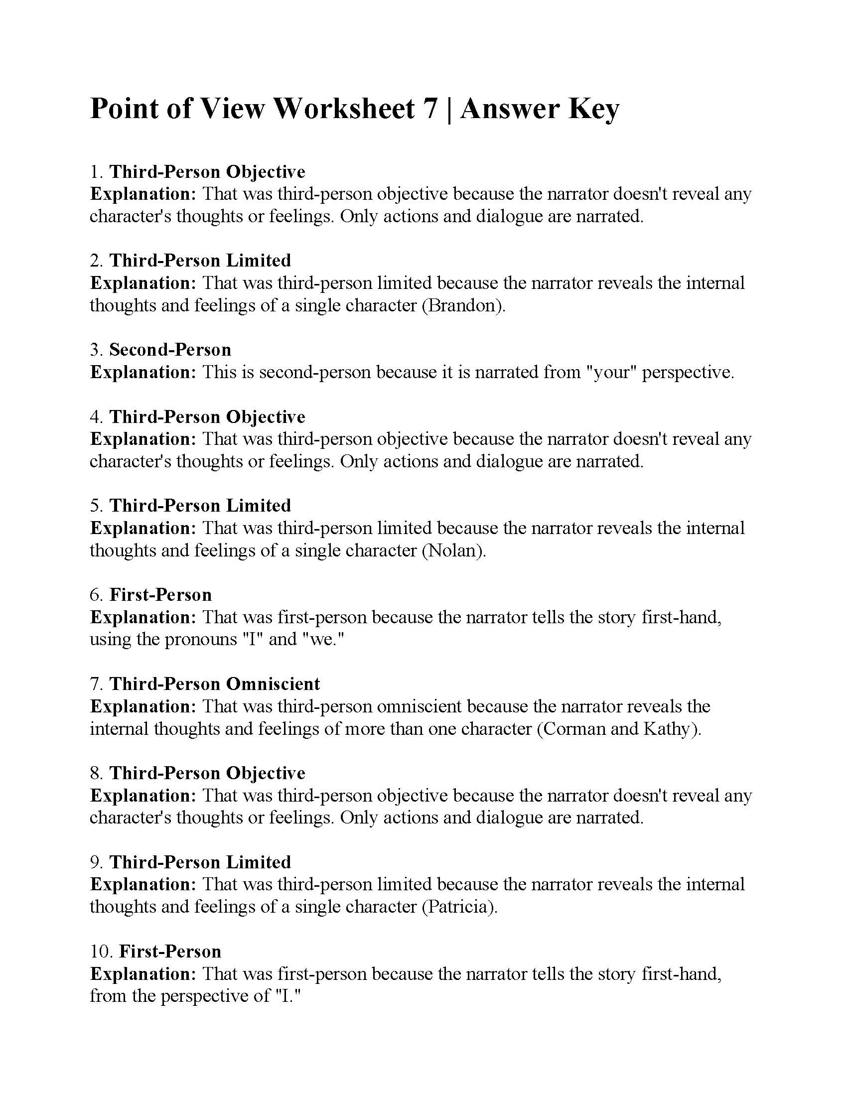 hight resolution of Point of View Worksheet 7   Answers