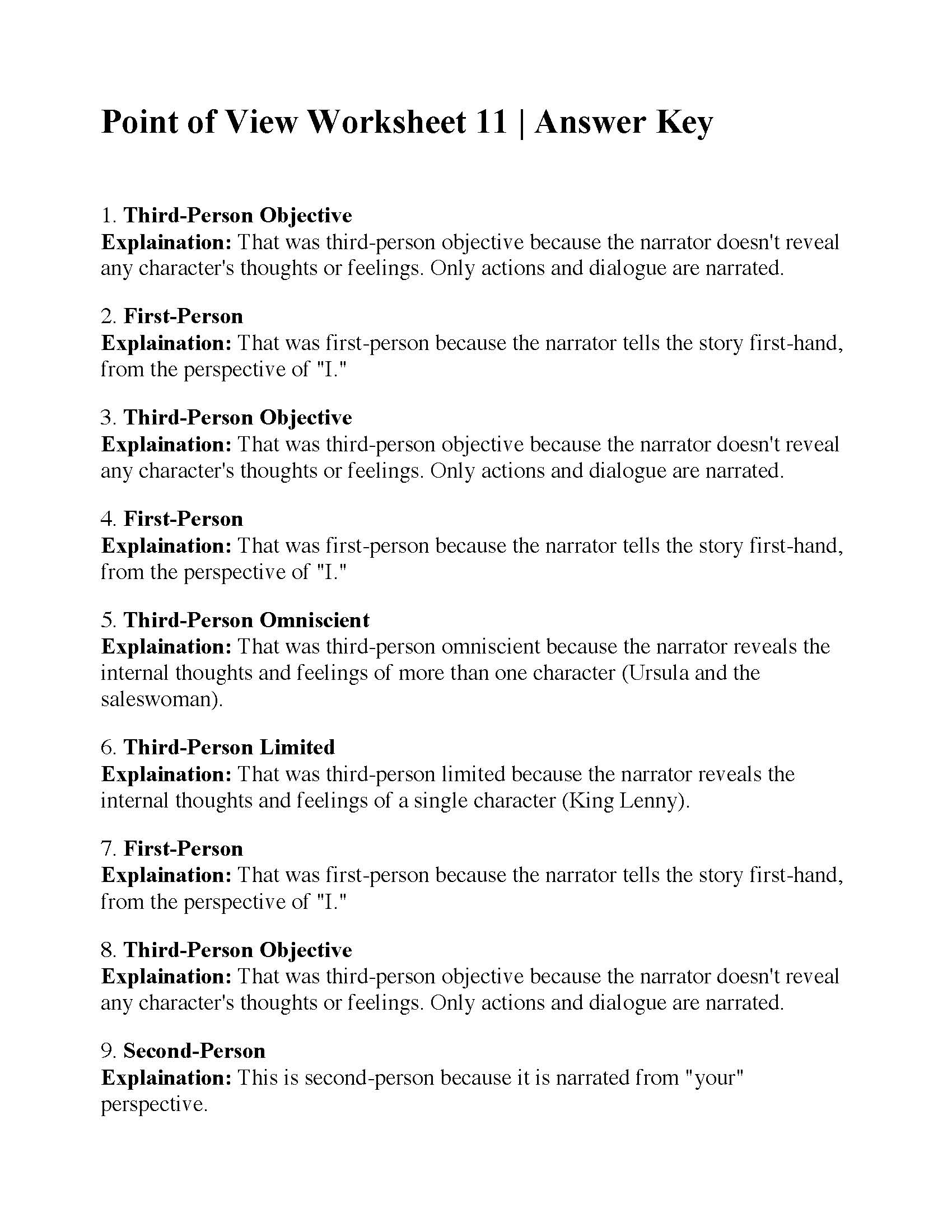 hight resolution of Point of View Worksheet 11   Answers