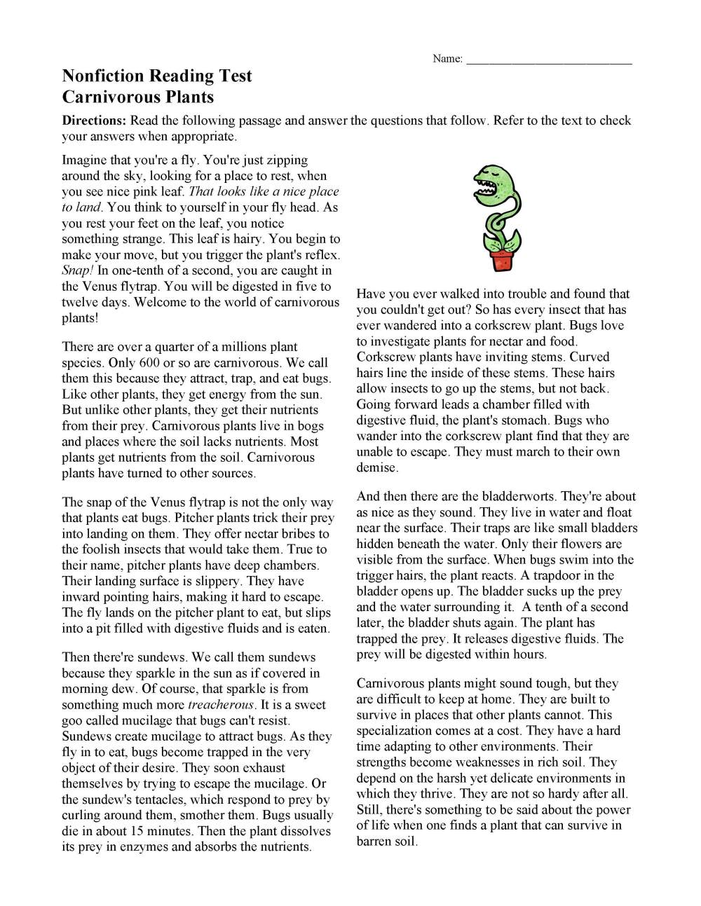 medium resolution of Free Reading Worksheets   Ereading Worksheets