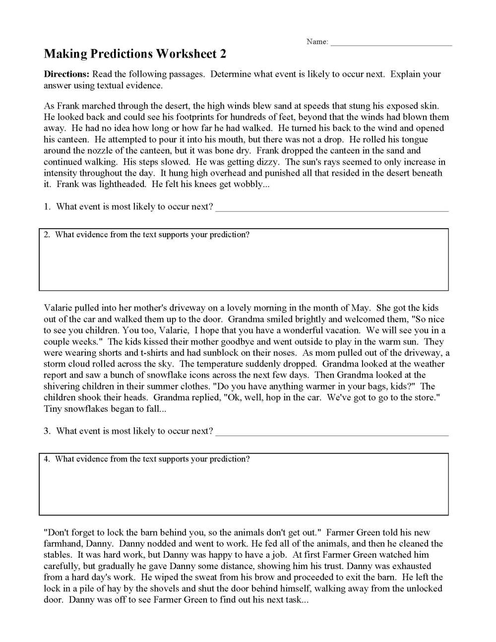 medium resolution of Making Predictions Worksheets and Lessons   Ereading Worksheets