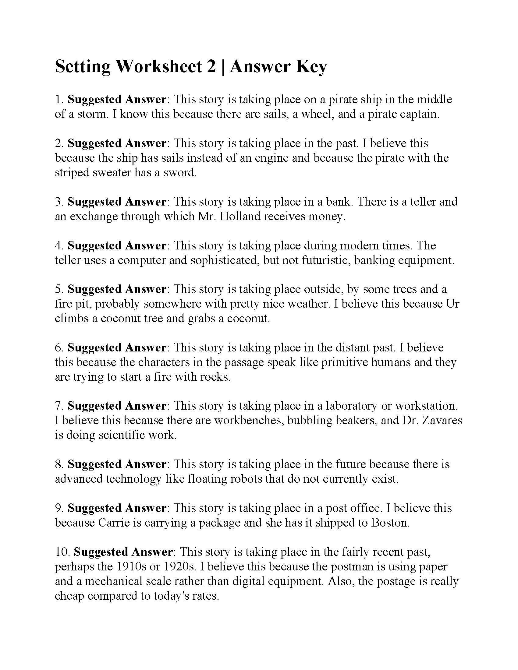 Setting Worksheet 2