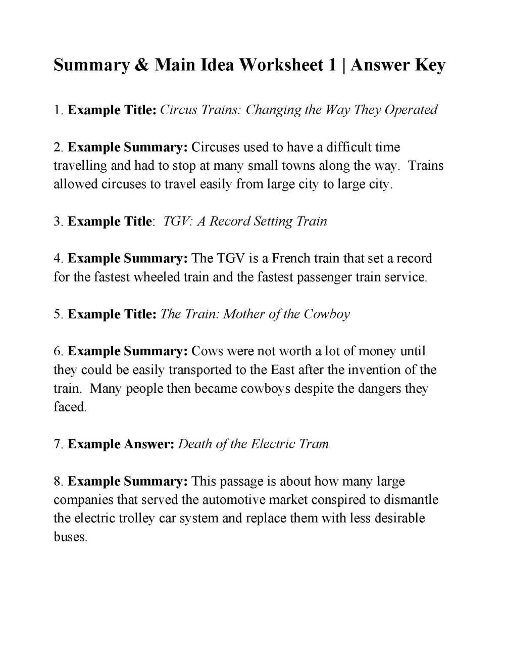 medium resolution of Summary And Main Idea Worksheet 1 - Promotiontablecovers
