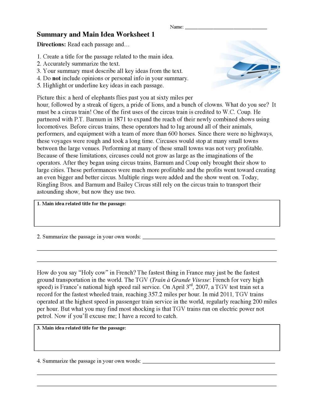 medium resolution of Summarizing Worksheets - Learn to Summarize   Ereading Worksheets