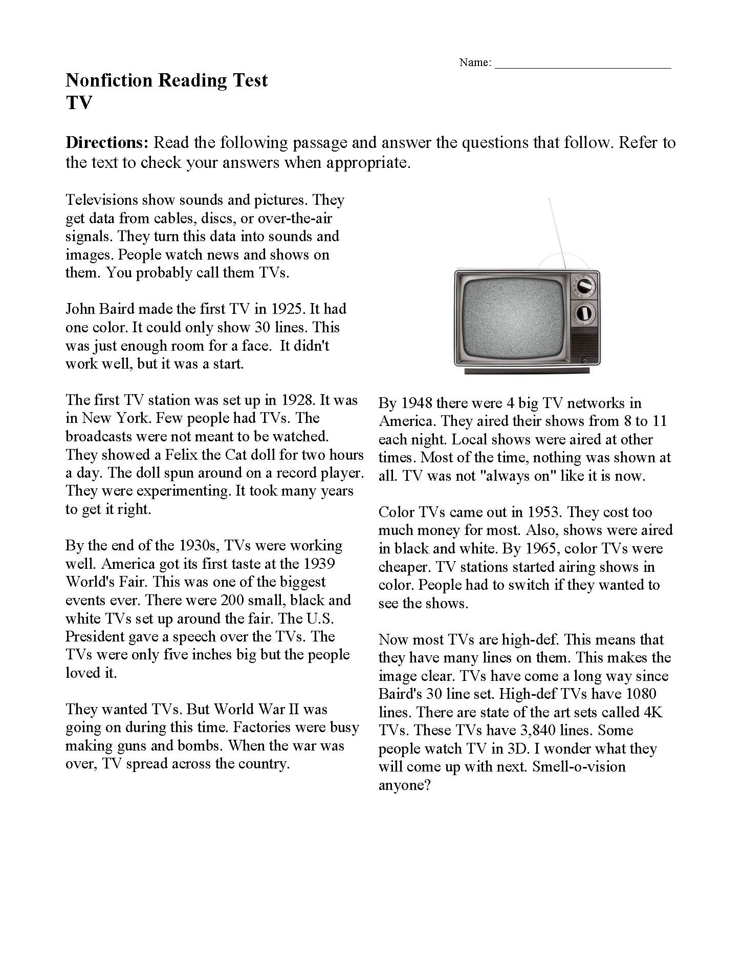 hight resolution of Nonfiction Passages \u0026 Functional Texts   Reading Comprehension   Ereading  Worksheets
