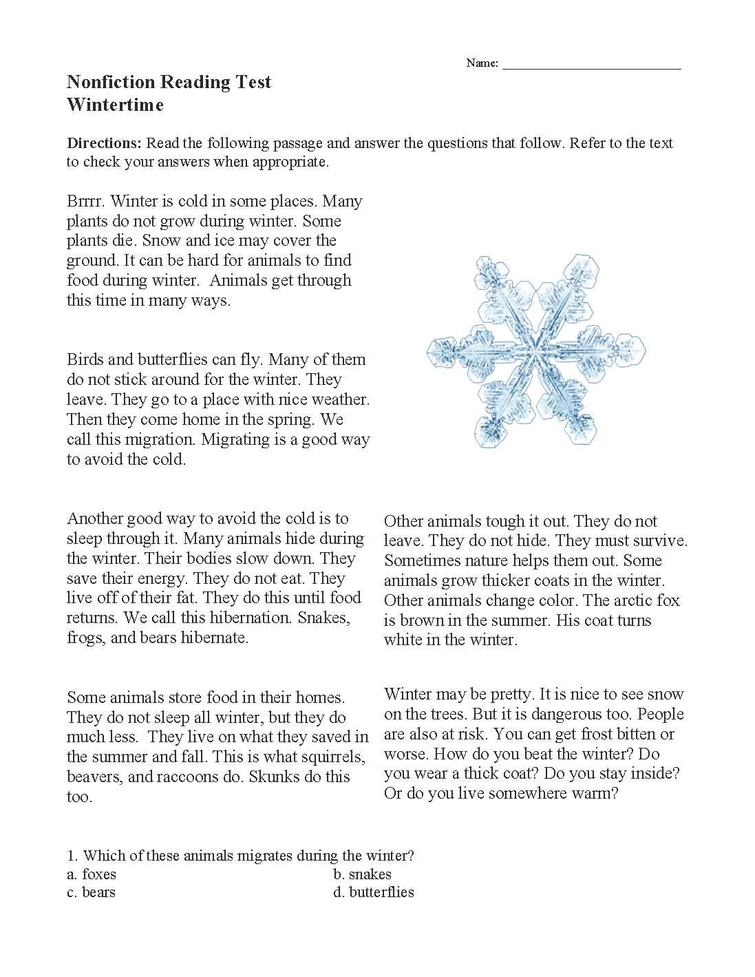 Third Grade Reading Comprehension Worksheets Math