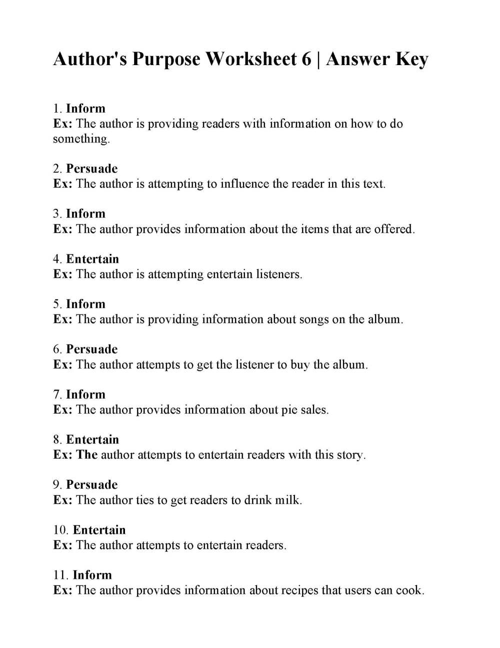 medium resolution of Authors Purpose Worksheet 3 Answers - Promotiontablecovers
