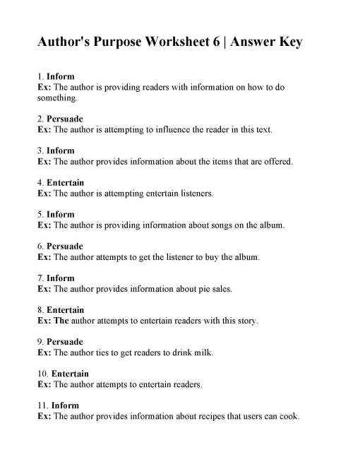 small resolution of Authors Purpose Worksheet 3 Answers - Promotiontablecovers