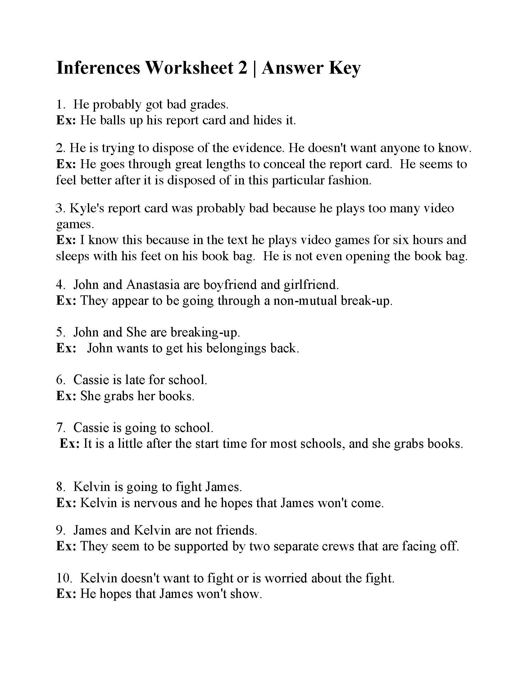 hight resolution of Inferences Worksheet 2   Reading Activity