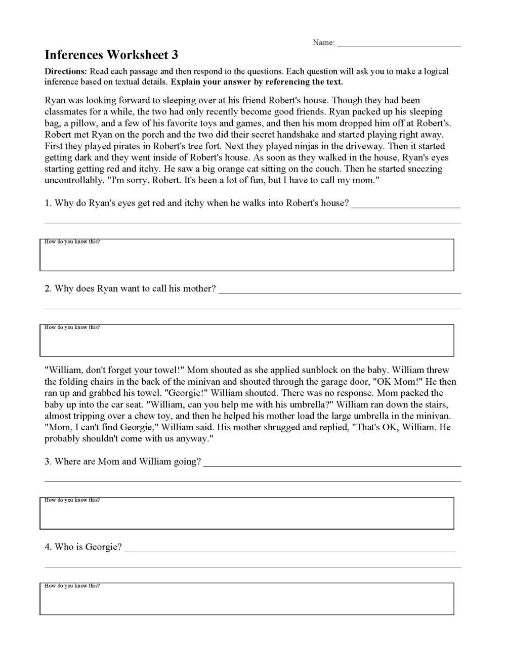 medium resolution of Inferences Worksheets   Ereading Worksheets
