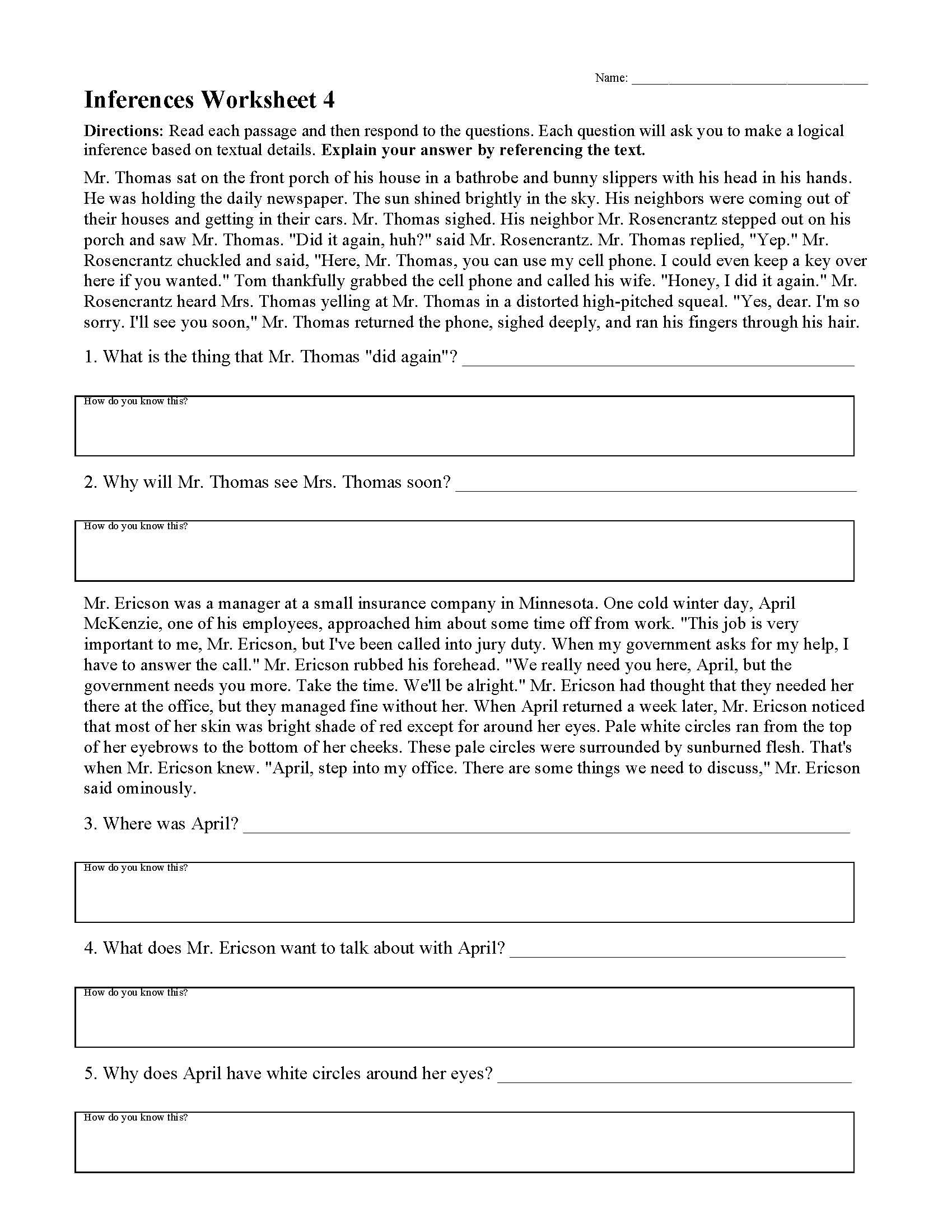 hight resolution of Inferences Worksheets   Ereading Worksheets
