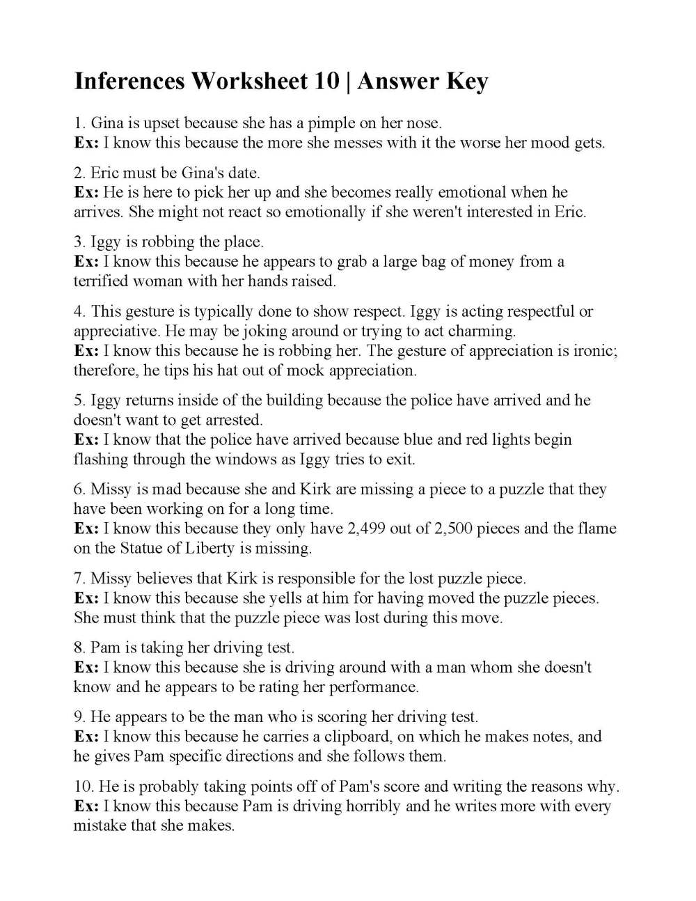 medium resolution of Inferences Worksheet 10   Reading Activity
