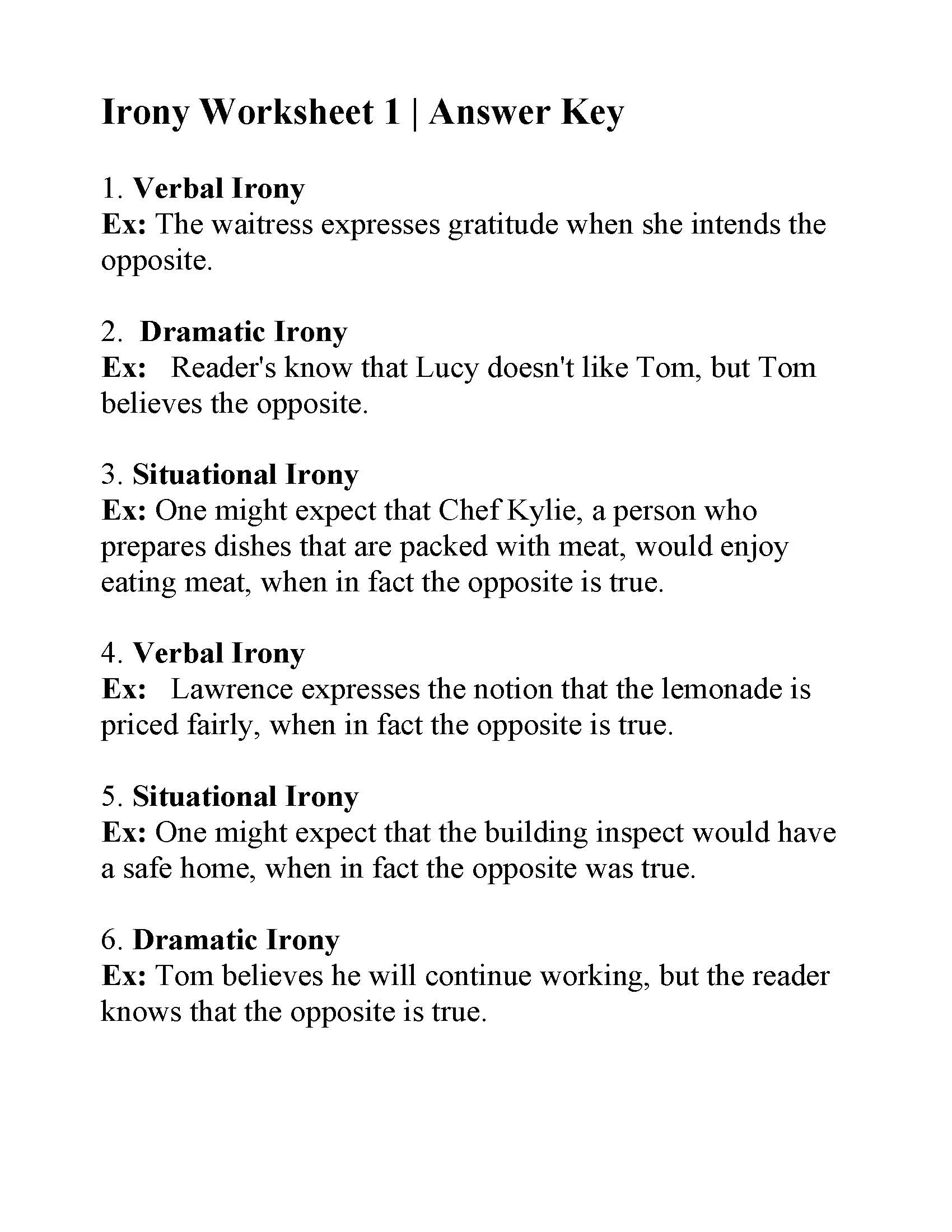 Irony Worksheet 1