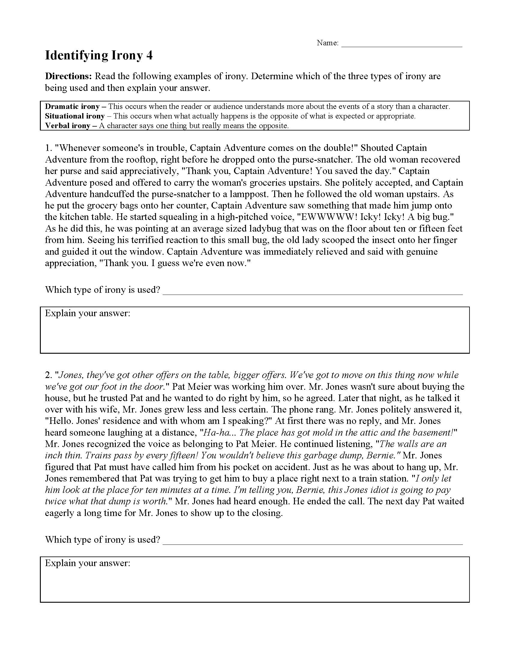 Cozy Identifying Irony Worksheet For 9th Grade Lesson Planet