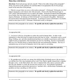 Main Idea Worksheets   Ereading Worksheets [ 2200 x 1700 Pixel ]