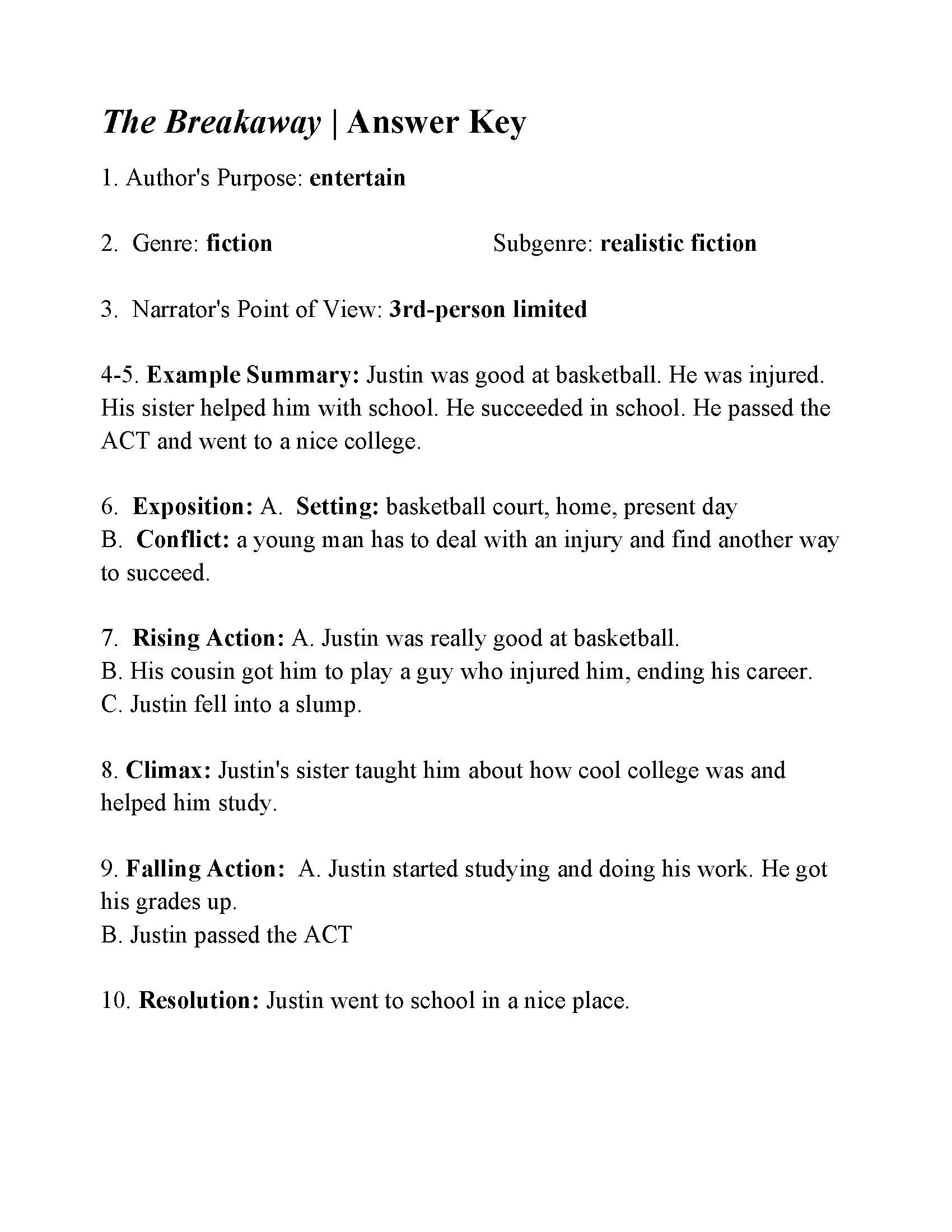 P E Basketball Test Answer Key